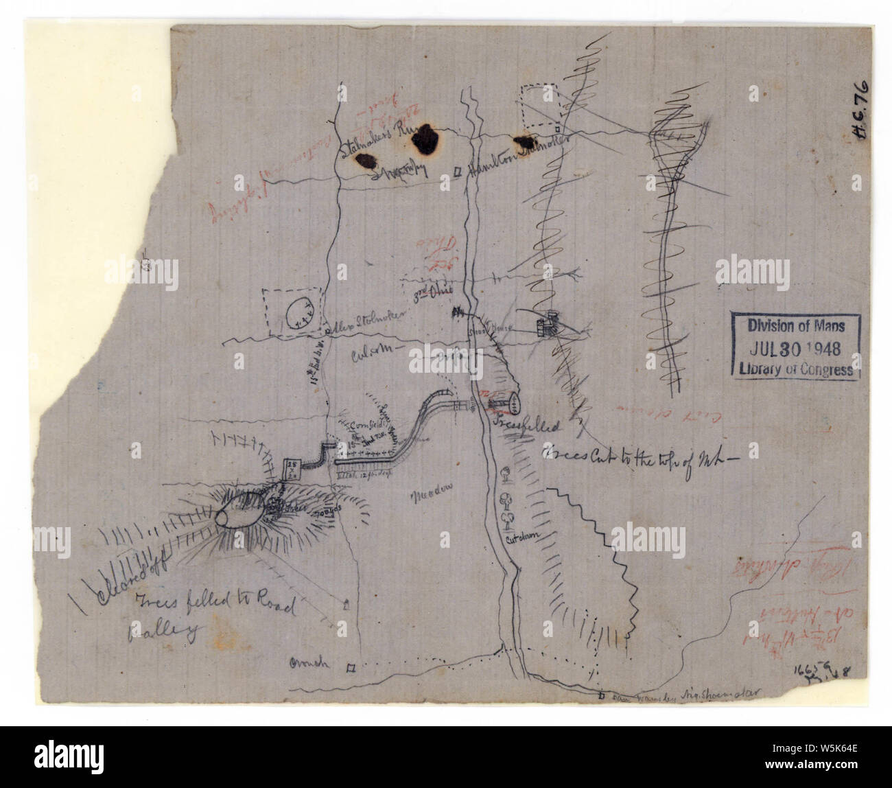 073  Rough sketch of the battle of Rich Mountain July 11-12 1861 Rebuild and Repair Stock Photo