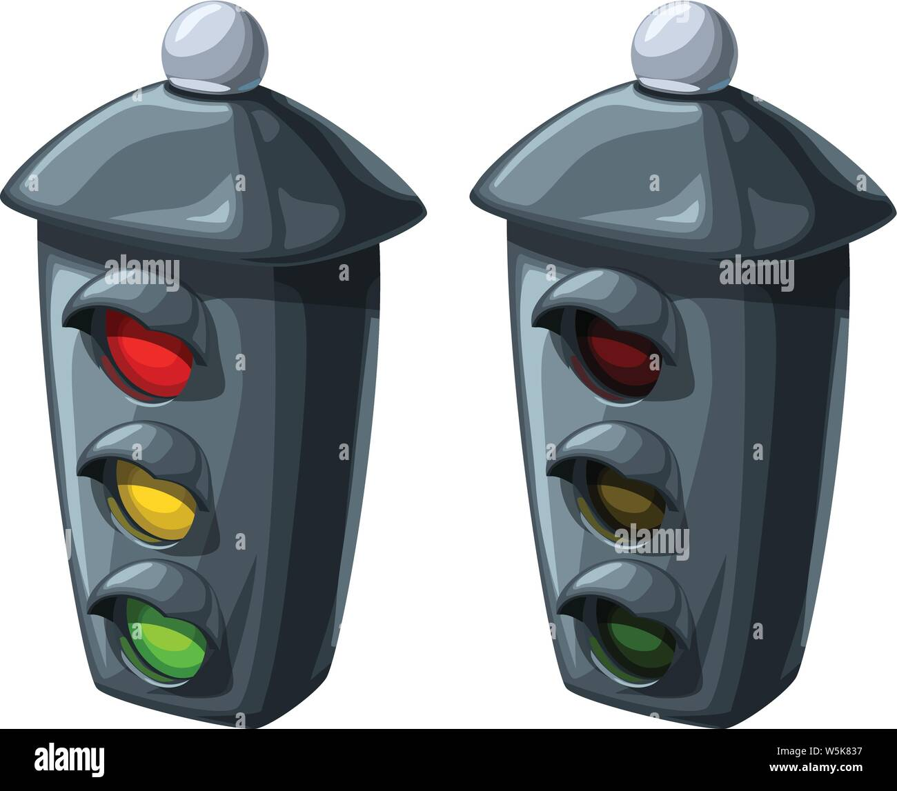 traffic lights in two conditions Stock Vector