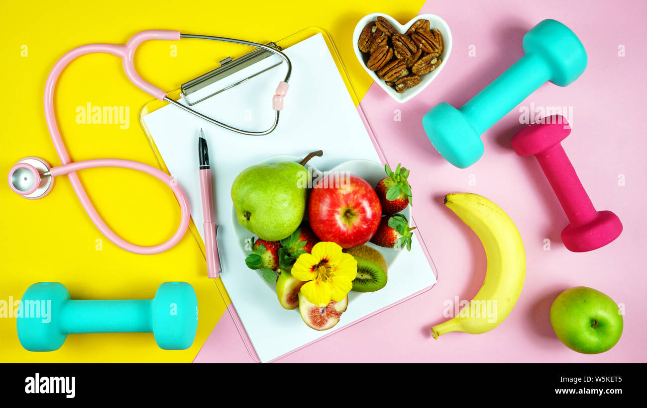 Healthy Lifestyle Prescription For Good Health Concept Flatlay With Stethoscope Healthy Food And Exercise Equipment On Modern Pastel Background Stock Photo Alamy