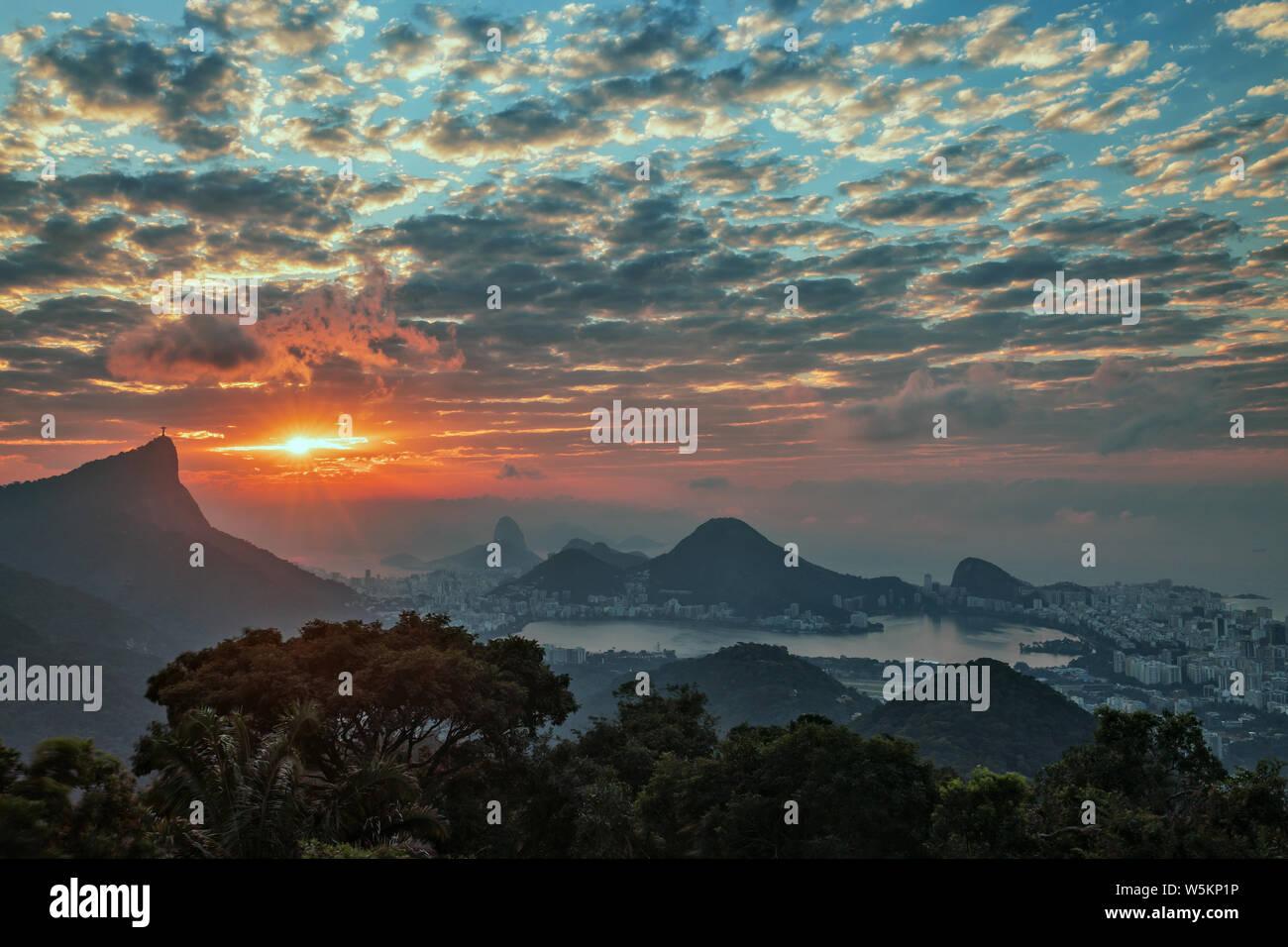 Sunrise in Vista Chinesa, Rio de Janeiro Stock Photo