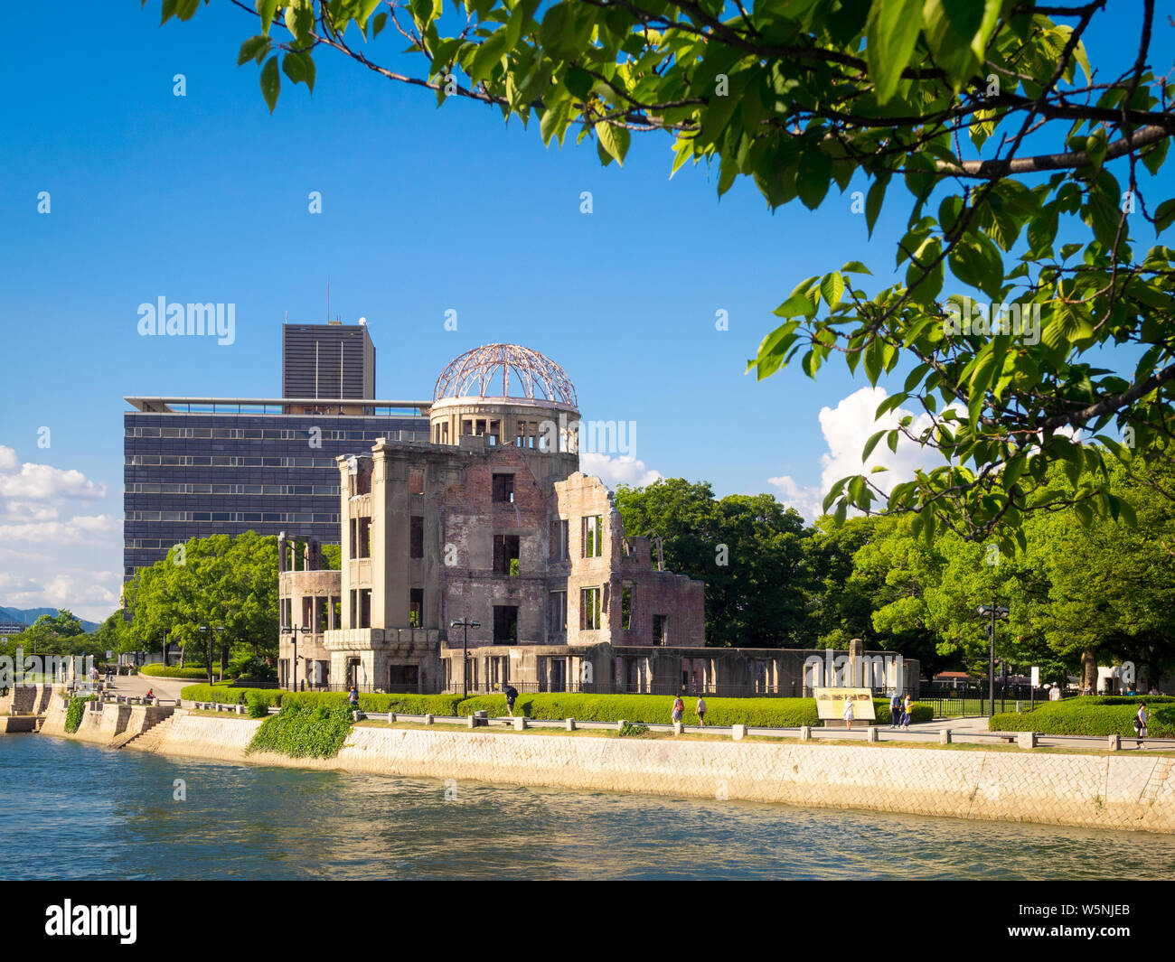 The Hiroshima Peace Memorial (Genbaku Dome, Atomic Bomb Dome or A-Bomb Dome) and the Ota River in Hiroshima, Japan. Stock Photo