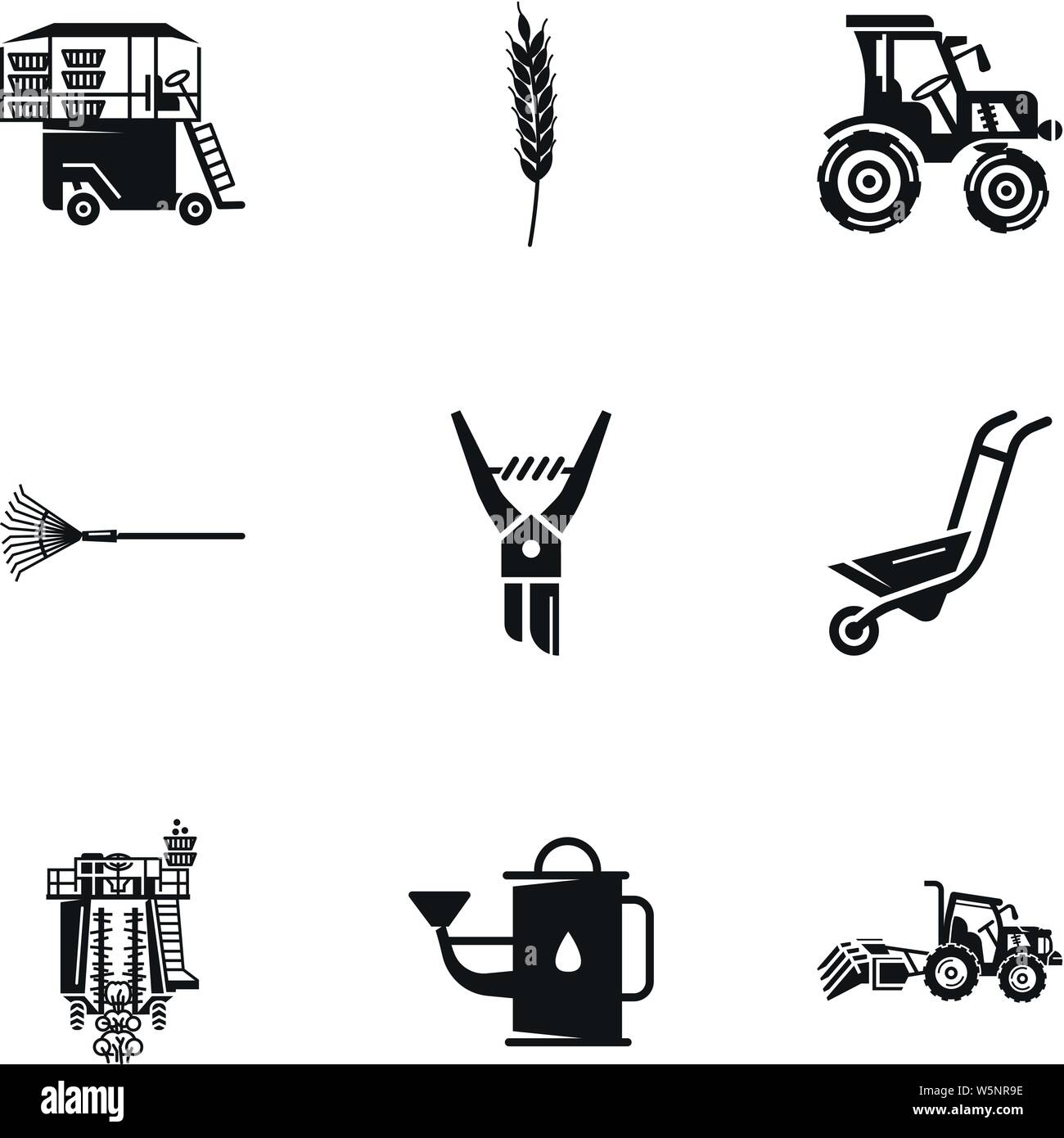 Farm tools icon set. Simple set of 9 farm tools vector icons for web design isolated on white background Stock Vector