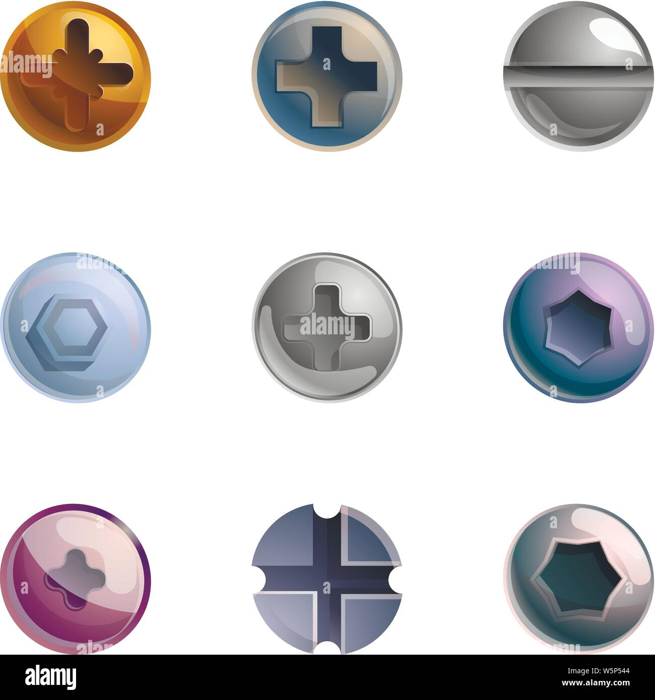 Bolt head icon set. Cartoon set of 9 bolt head vector icons for web design isolated on white background Stock Vector