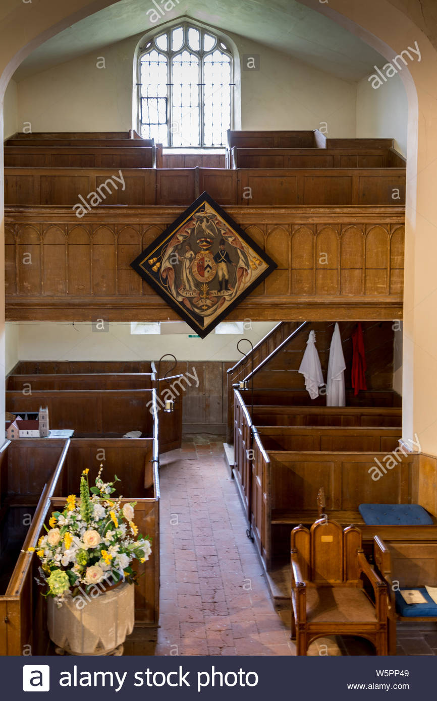Interior of St. Mary's Church Hartley Wintney, Hampshire UK. Picture shows the galleried North Transept and the Victorian box pews Stock Photo