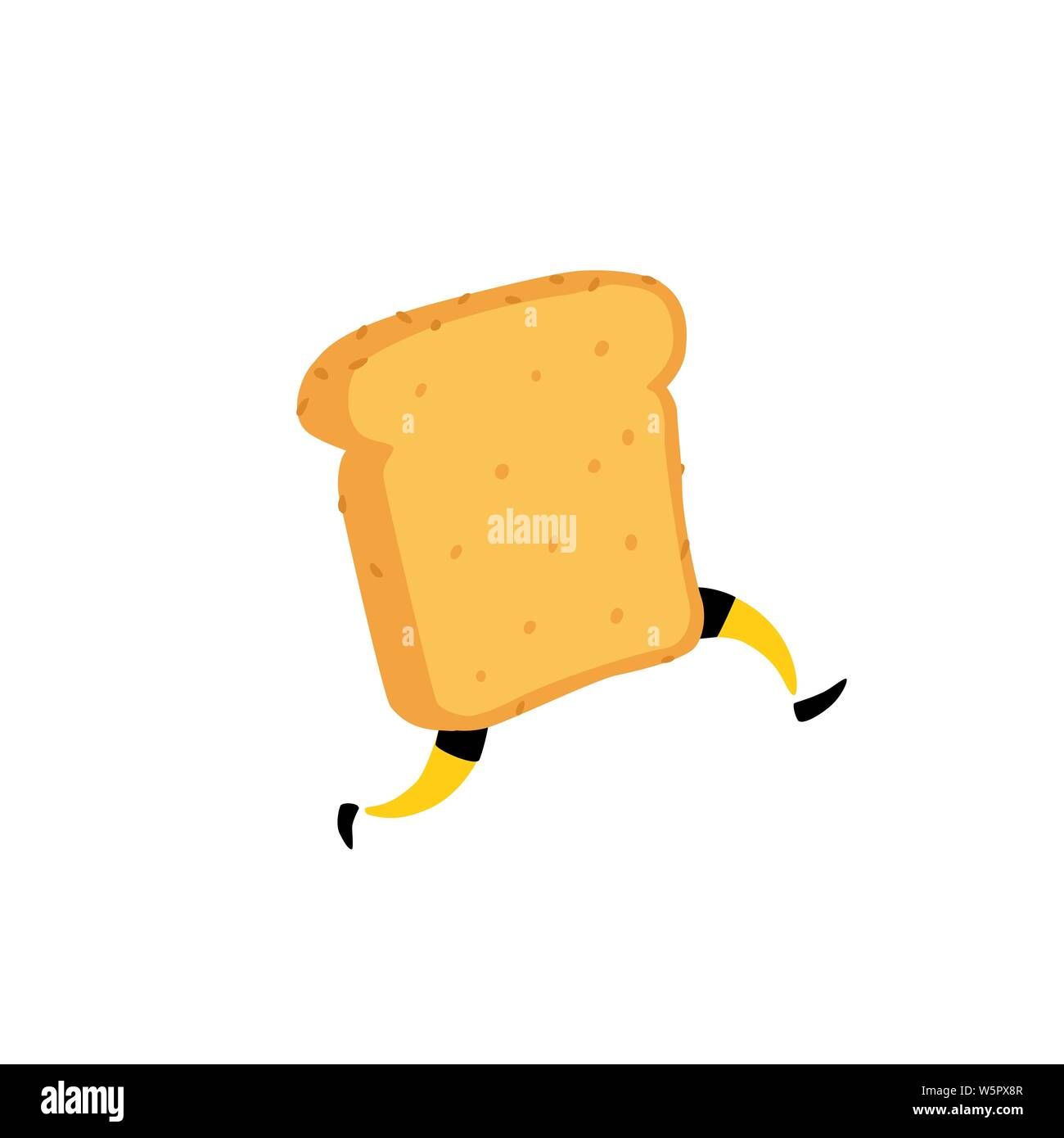 Illustration of a running toaster. Running a piece of bread. Vector. Crunchy character with legs. Icon for the site. Sign, logo for the store. Deliver Stock Vector