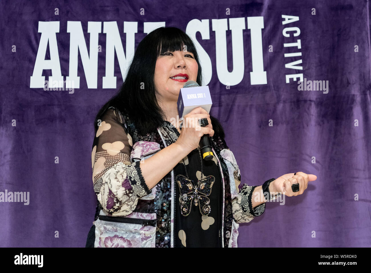 American fashion designer Anna Sui attends the opening ceremony for Anna Sui Active Grand in Shanghai, China, 26 June 2019. Stock Photo