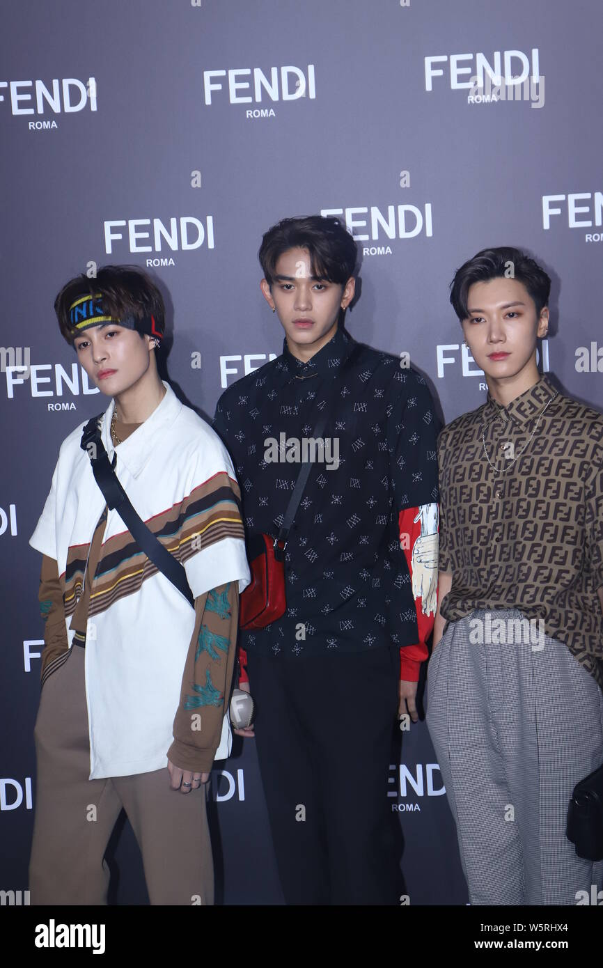 Ten Lucas And Yangyang Of South Korean Boy Group Nct And Its Chinese Sub Unit Wayv Attend The Fendi Men S Fall Winter 2019 Fashion Show In Shanghai Stock Photo Alamy