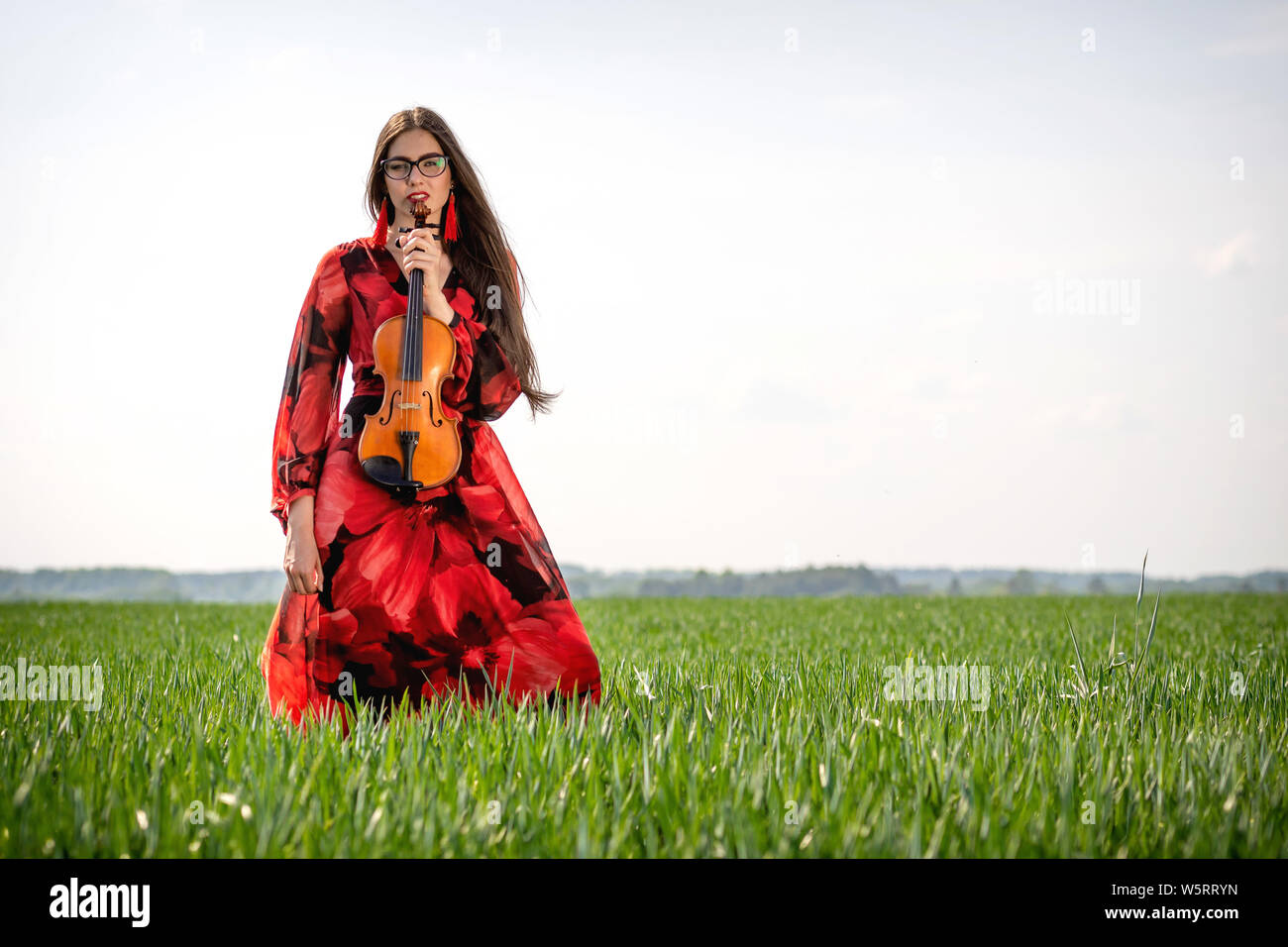 Young woman in red dress with violin in green meadow. Stock Photo