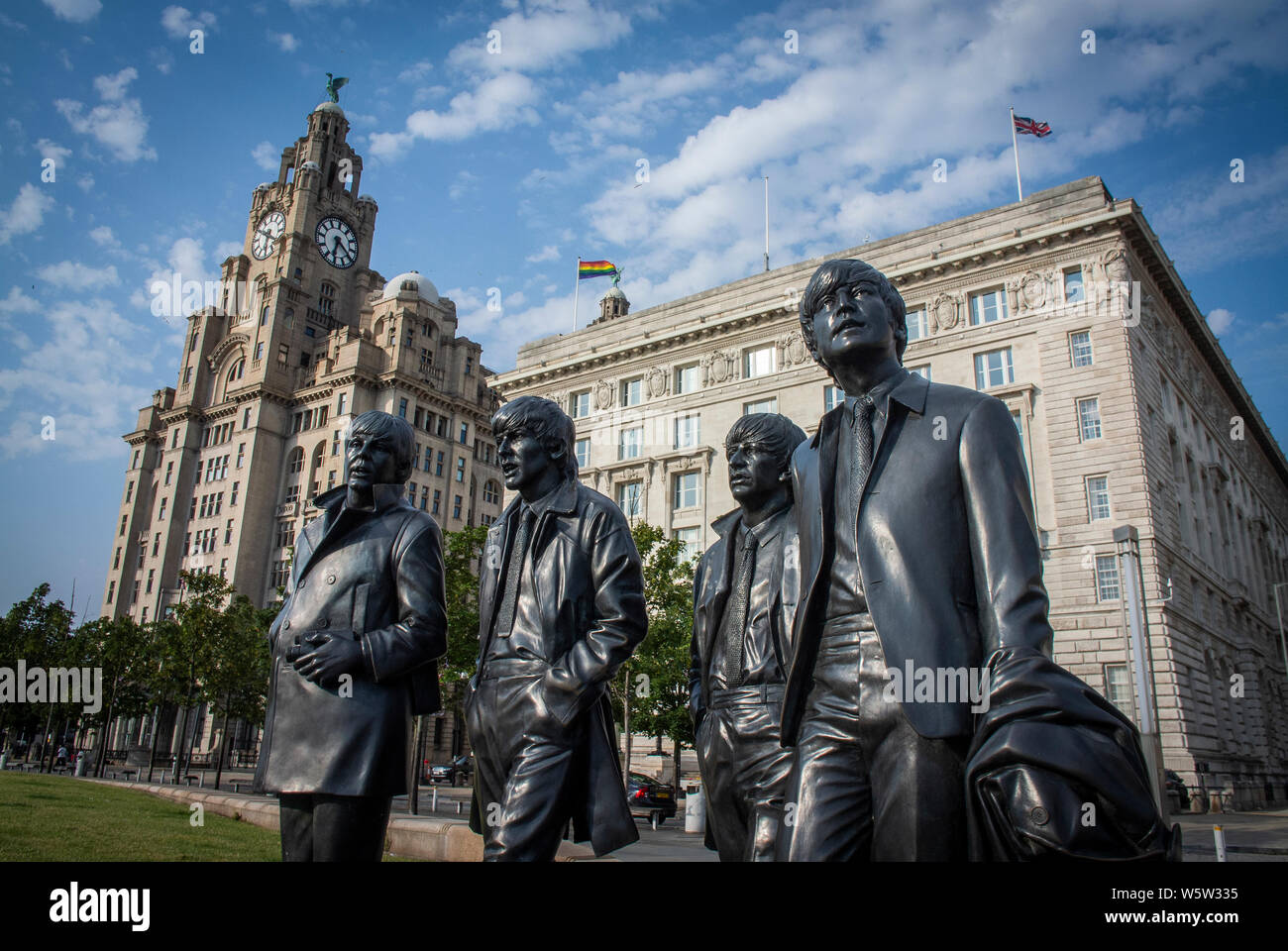 The Beatles statue at Pier Head, Liverpool. UK. Stock Photo