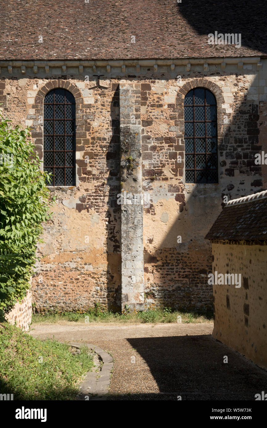 Face of the South Wall, Abbey of Thiron Gardais, Eure et Loir, France. The Abbey is undergoing restoration. Stock Photo