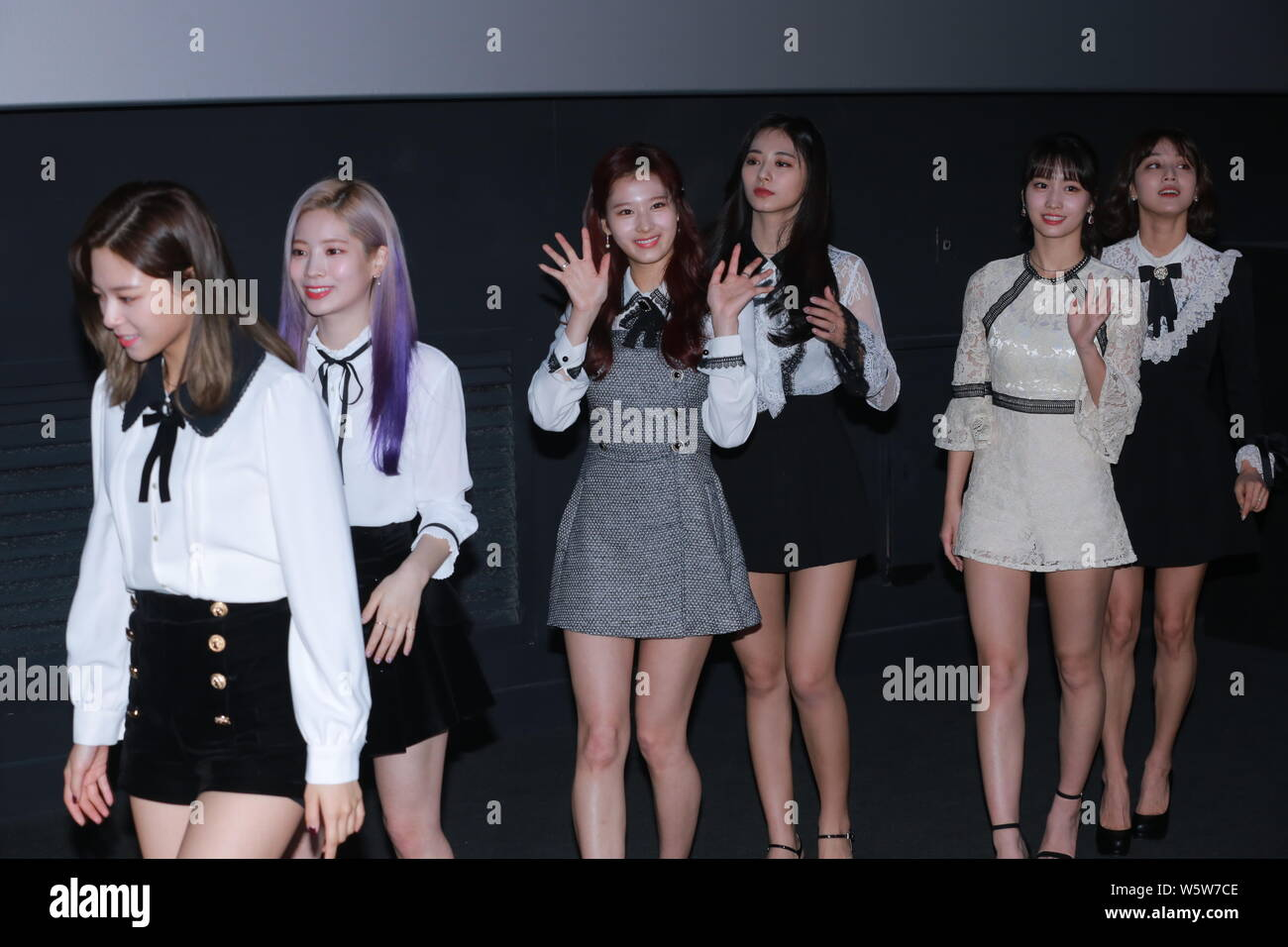 members of south korean girl group twice pose as they attend a press conference for the movie twiceland in seoul south korea 6 december 2018 stock photo alamy alamy