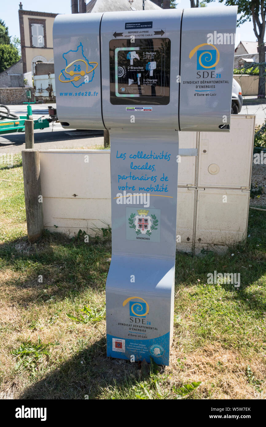 French electric car charging point, Senonches, outside hotel. Stock Photo