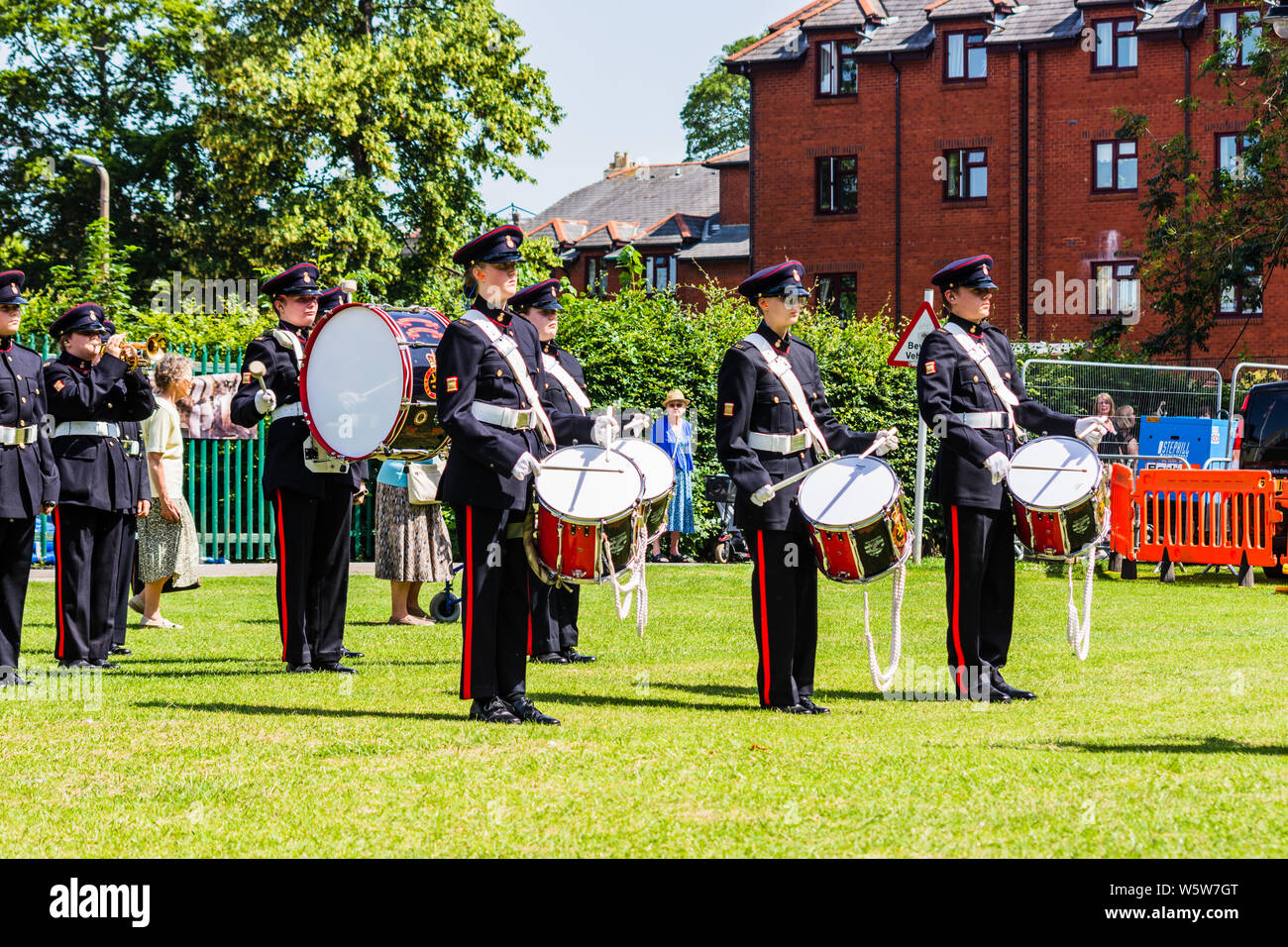 Members of Wiltshire Army cadet force band playing in Trowbridge park during the armed forces celebration weekend. Stock Photo