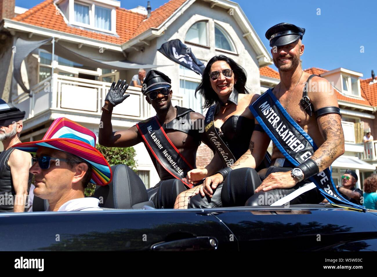 "(190730) -- THE HAGUE, July 30, 2019 (Xinhua) -- People attend the third edition of the ""Pride at the Beach"" parade in Zandvoort, the Netherlands, July 29, 2019. (Photo by Sylvia Lederer/Xinhua) Stock Photo"