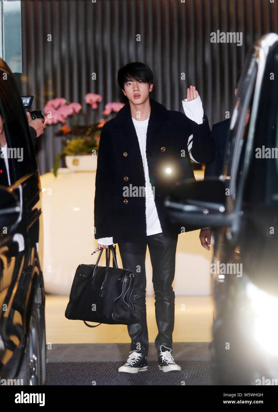 Jin Of South Korean Boy Band Bts Also Known As The Bangtan Boys Arrives At An Airport For The Bts World Tour Love Yourself Tour Concert In Taipei Stock Photo Alamy