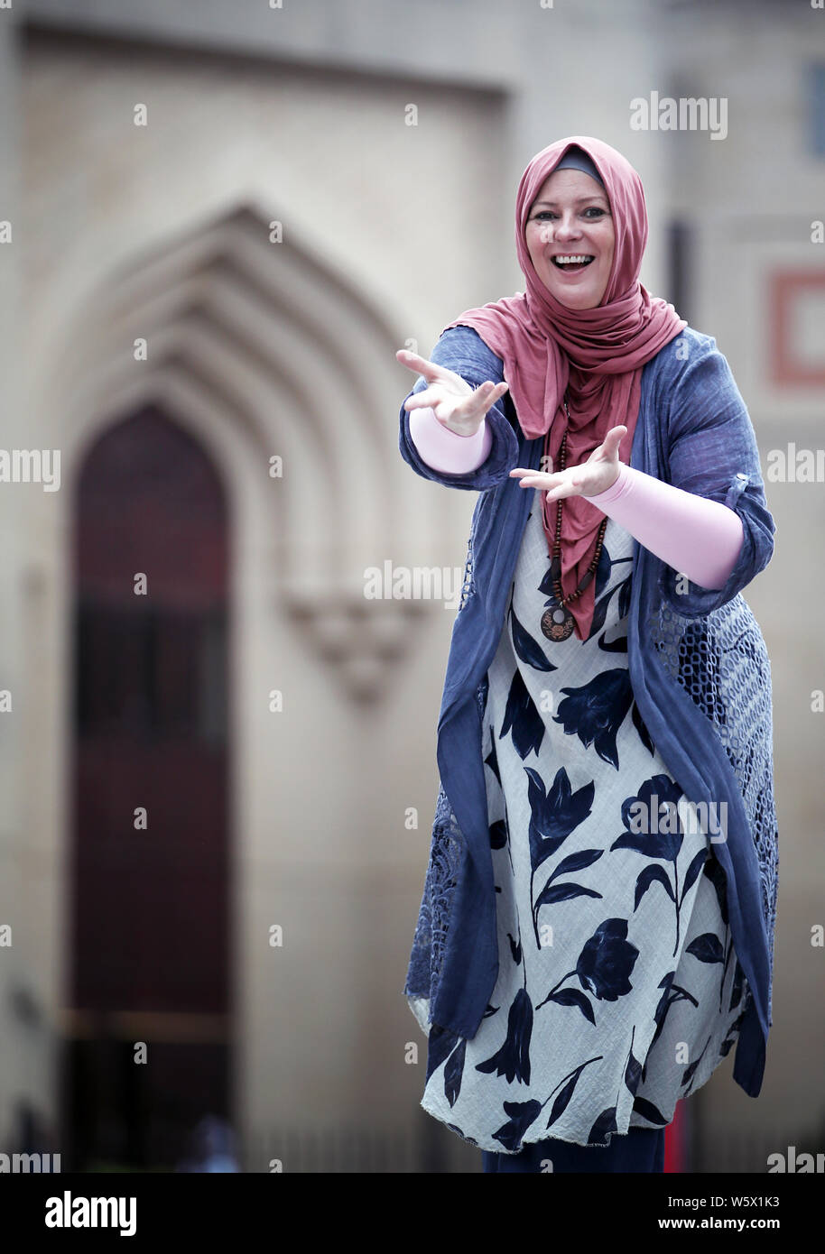 Journalist and human rights activist Lauren Booth outside Edinburgh Central Mosque ahead of her Edinburgh Fringe one woman show 'Accidentally Muslim' which will be performed at the Gilded Balloon throughout the Edinburgh Festival. Stock Photo