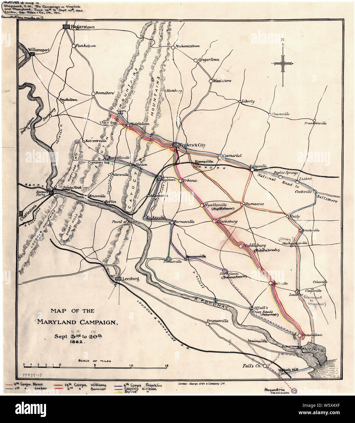 Civil War Maps 0920 Map of the Maryland Campaign Sept 3rd to 29th 1862 Rebuild and Repair Stock Photo
