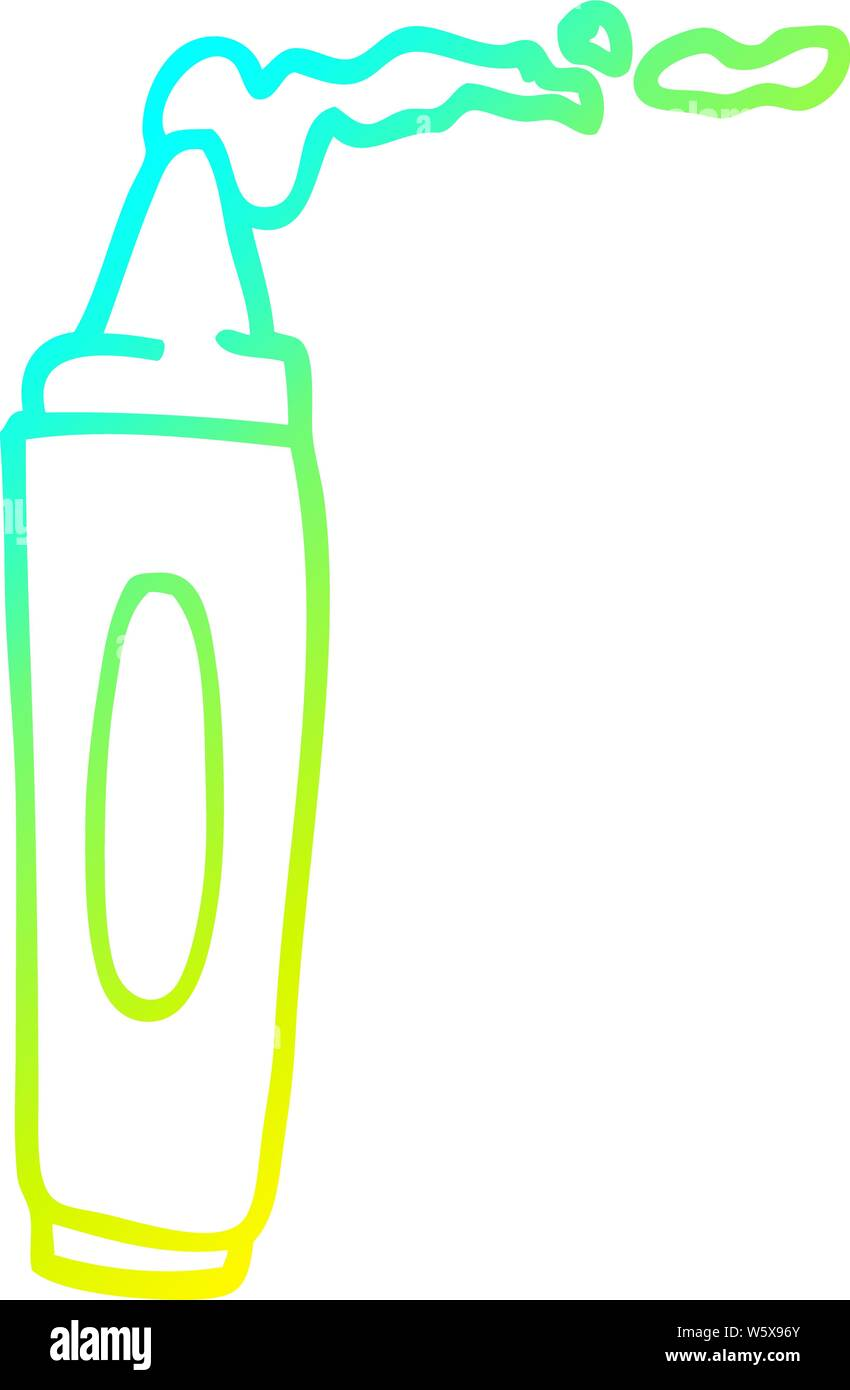 cold gradient line drawing of a cartoon coloring crayon ...