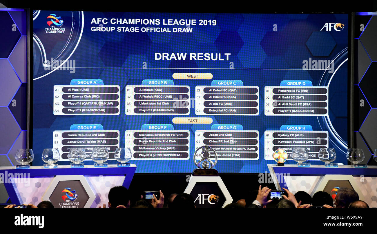A screen displays the final result of the draw for the 2019