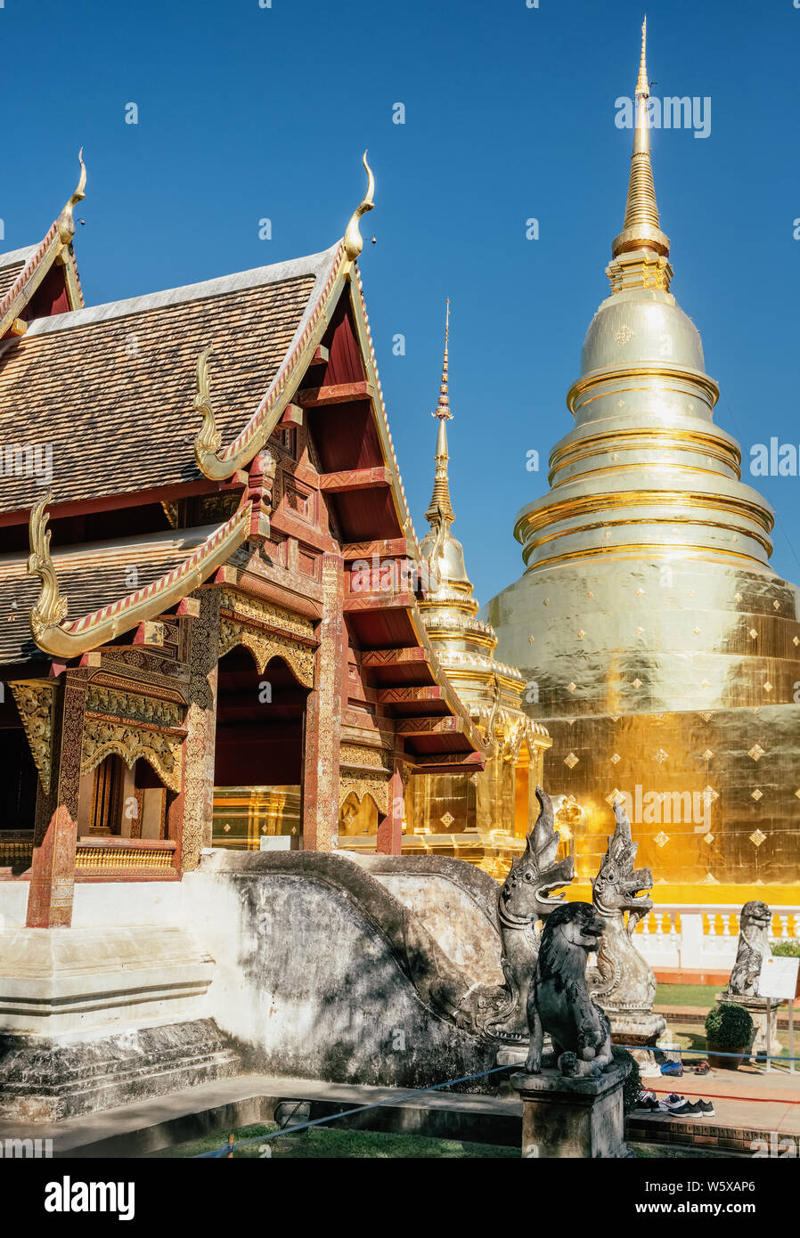 Wat Phra Singh temple in Chiang Mai, Thailand. Stock Photo