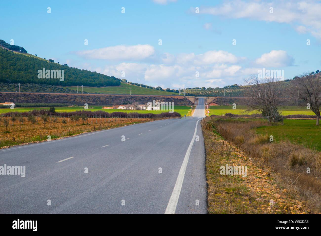 Side road. Fuente El Fresno, Ciudad Real province, Castilla La Mancha, Spain. Stock Photo
