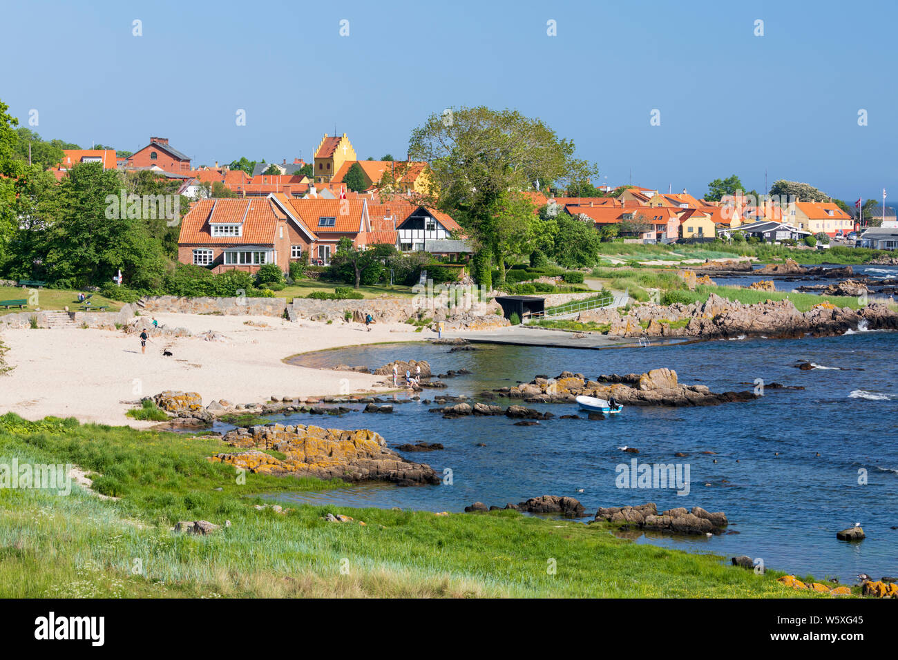 View over white sand beach of Naes Strand on sunny morning, Allinge, Bornholm Island, Baltic sea, Denmark, Europe Stock Photo