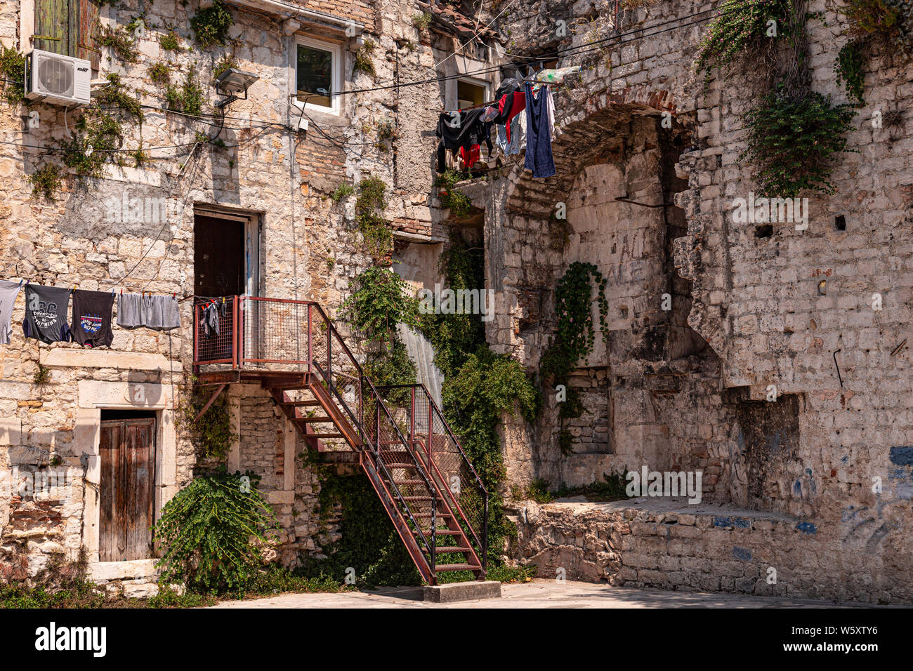 Old house in a courtyard in Split, Croatia Stock Photo