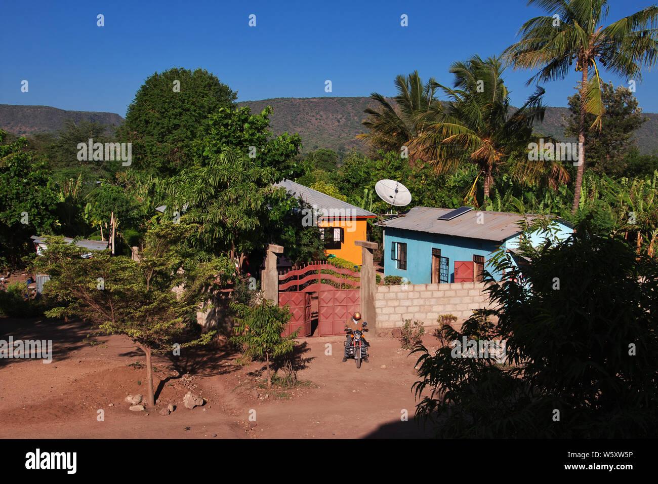 Lodge in Village of Masai, Tanzania Stock Photo