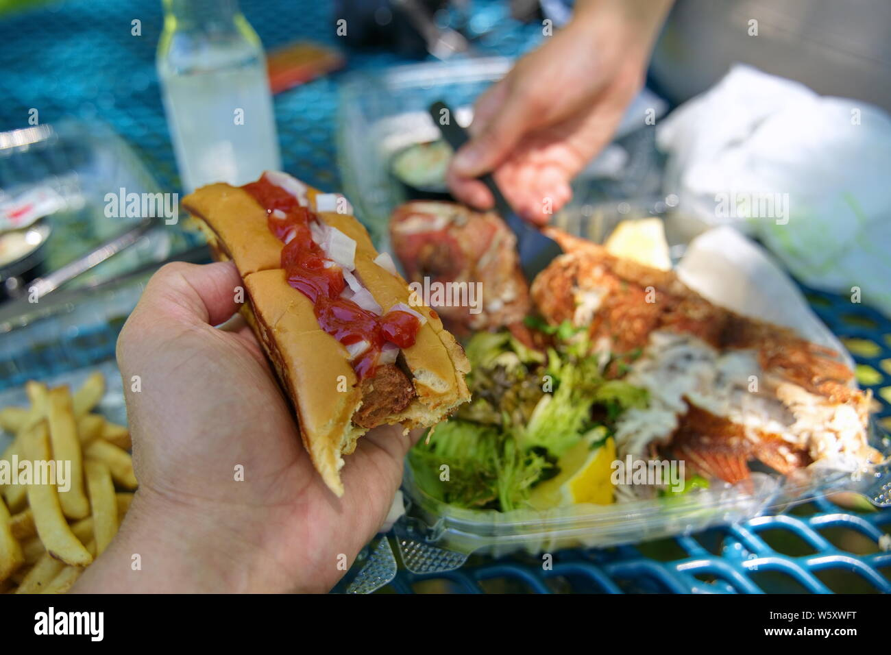 Hand holding a bitten juicy hotdog with fries beside a fried red snapper on a nice outdoors day. Stock Photo