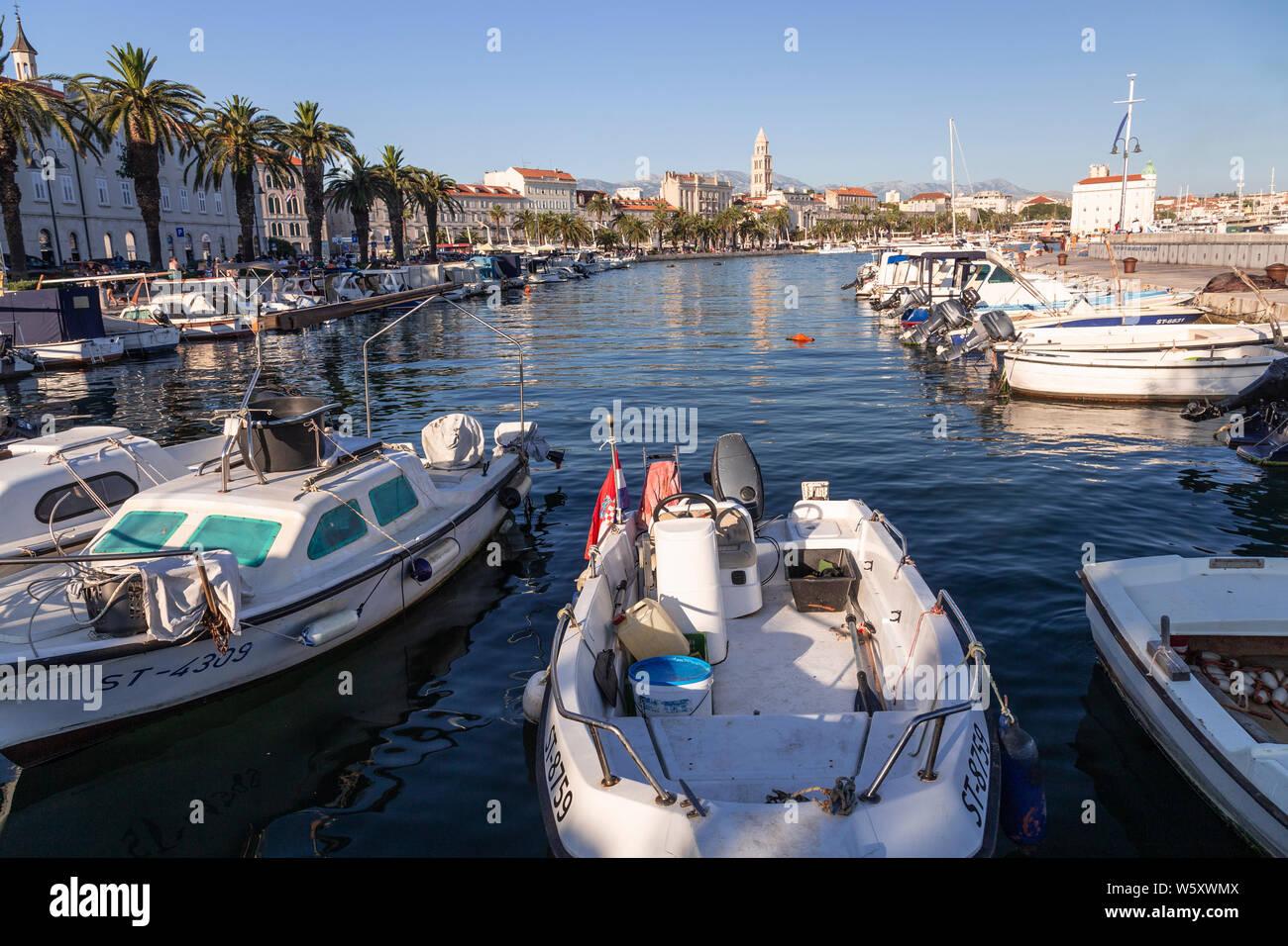 Split harbour on the Adriatic coast of Croatia Stock Photo