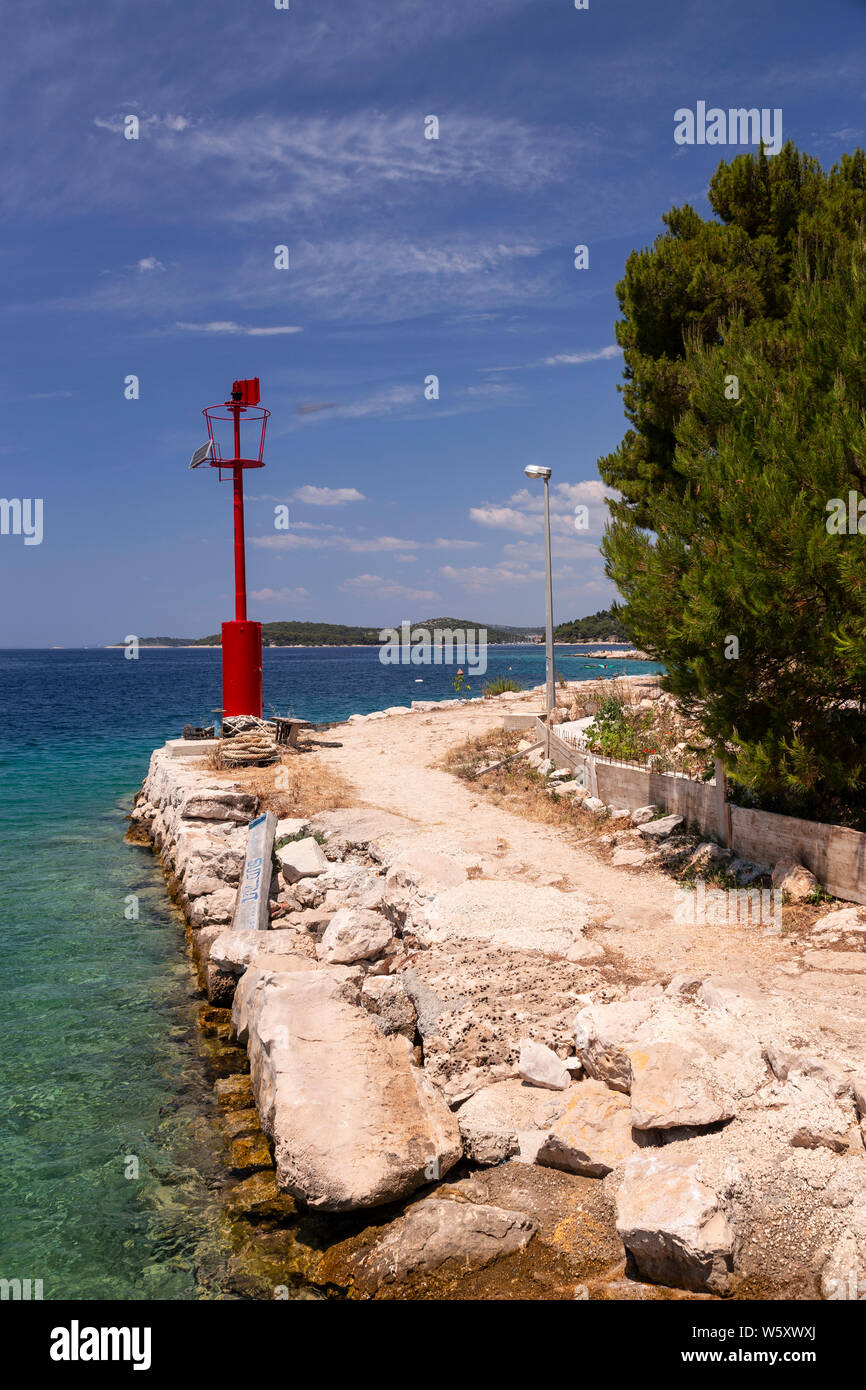 Harbour entrance marker at Razanj on the Adriatic coast of Croatia Stock Photo
