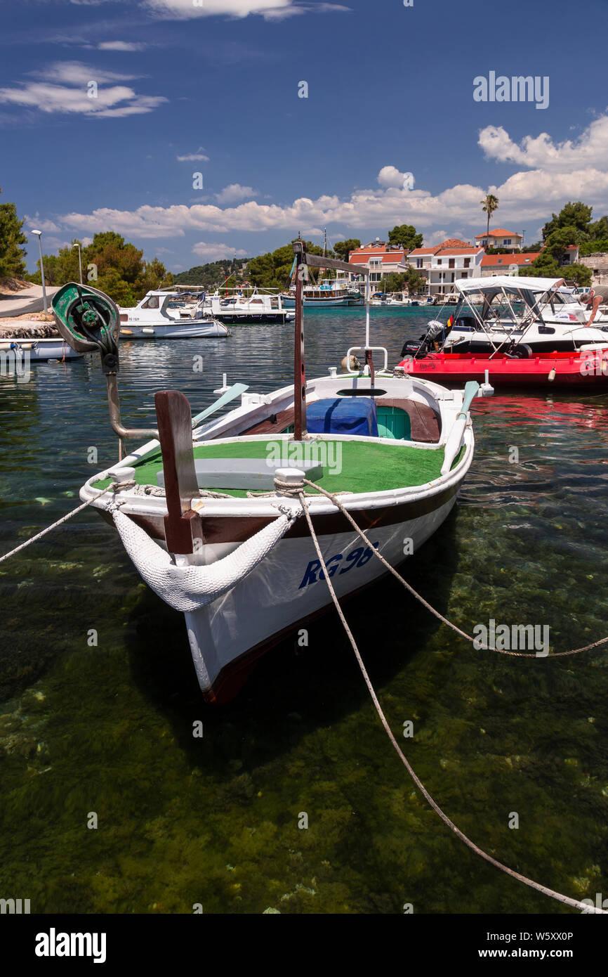 Small boats moored at Razanj harbour on the Adriatic coast of Croatia Stock Photo