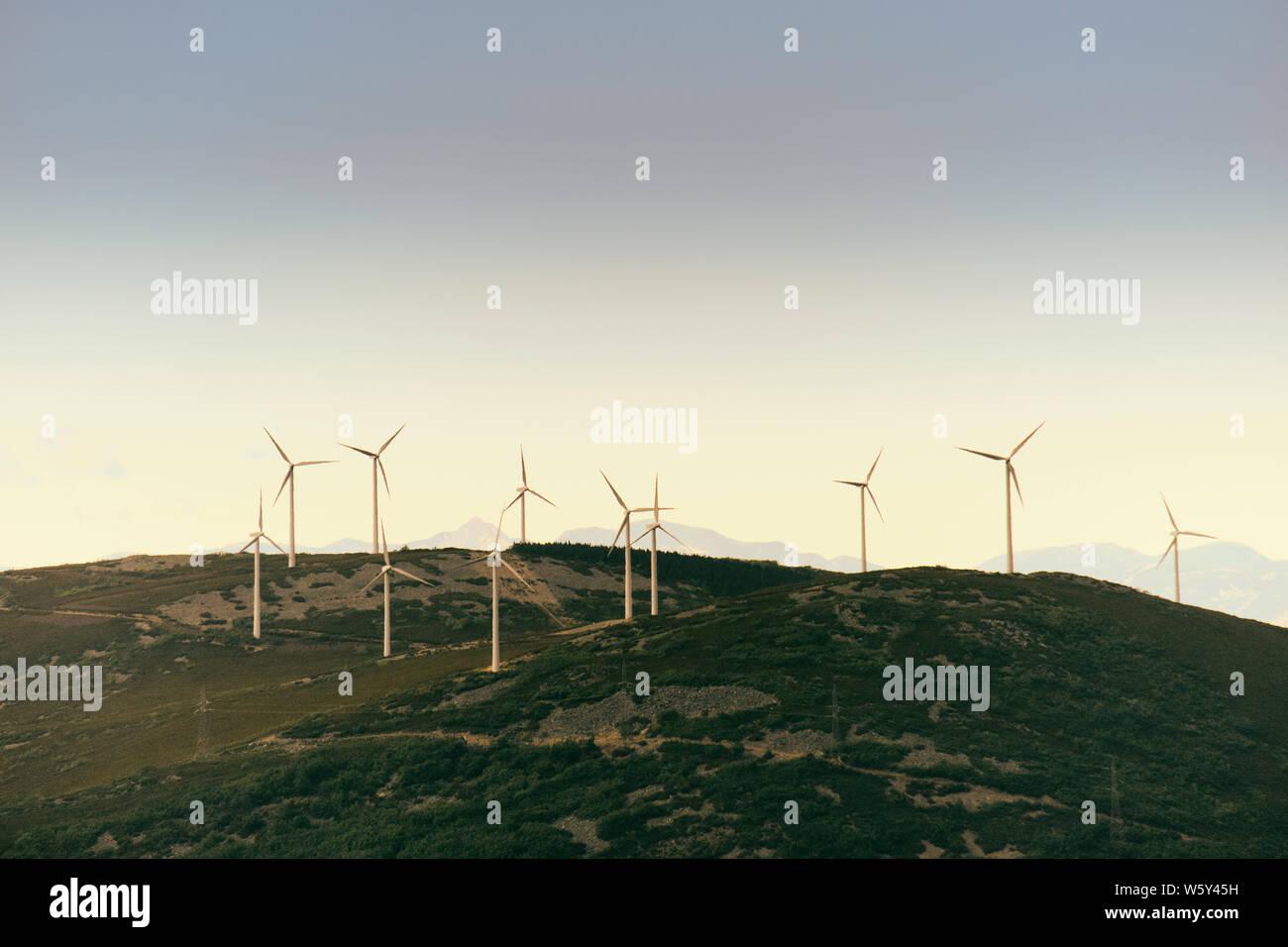 Power Generation Eolic Wind Turbines Field In Spain Stock Photo