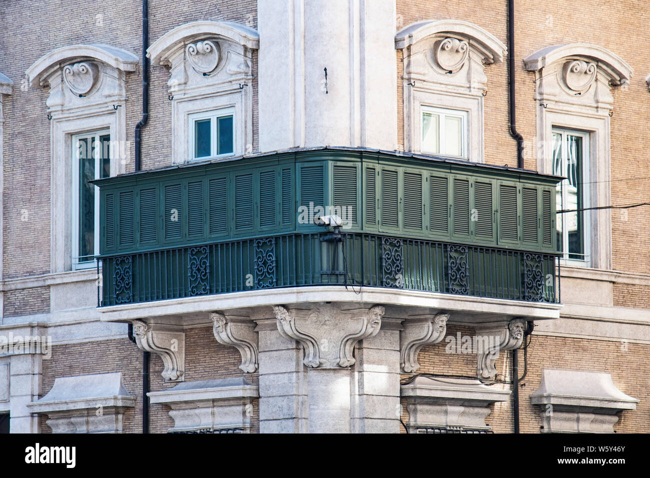 Napoleon Bonaparte's mother, Letizia Bonaparte, had this balcony built at her home in Rome, Italy so that she could watch people below in secret Stock Photo