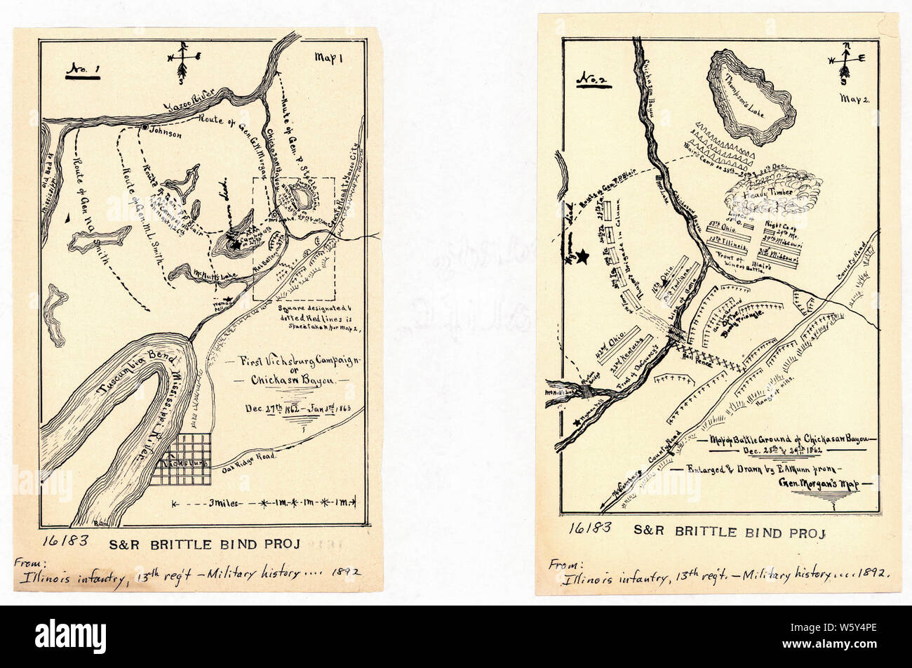 Civil War Maps 1193 No 1 First Vicksburg campaign or Chicksaw sic Bayou Dec 27th 1862-Jan 3rd 1863-No 2 Map of battle ground of Chickasaw Bayou Dec 28th and 29th 1862 Rebuild and Repair Stock Photo