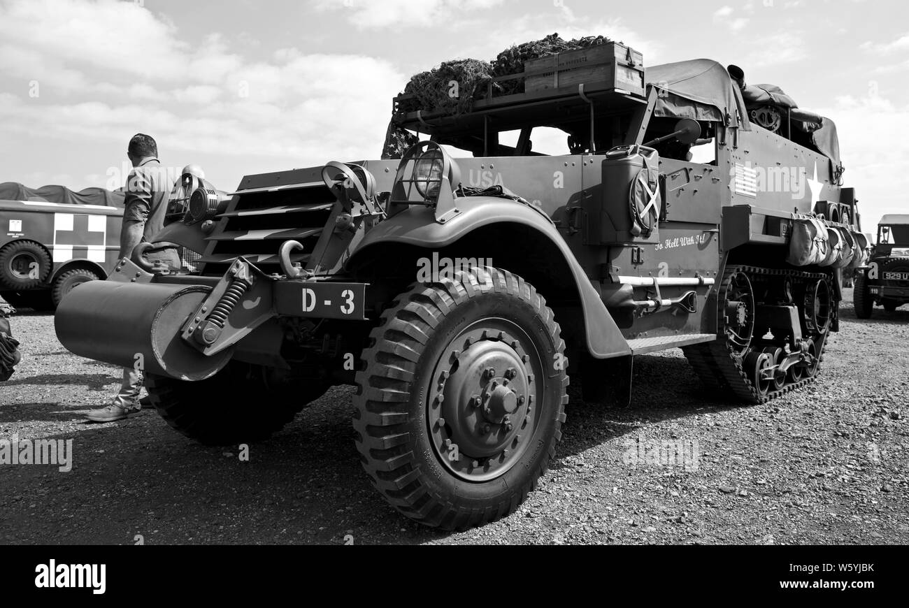 1940s WWII U.S Army armoured personnel carrier M3 half-track at Shuttleworth Military Airshow on the 7th July 2019 Stock Photo