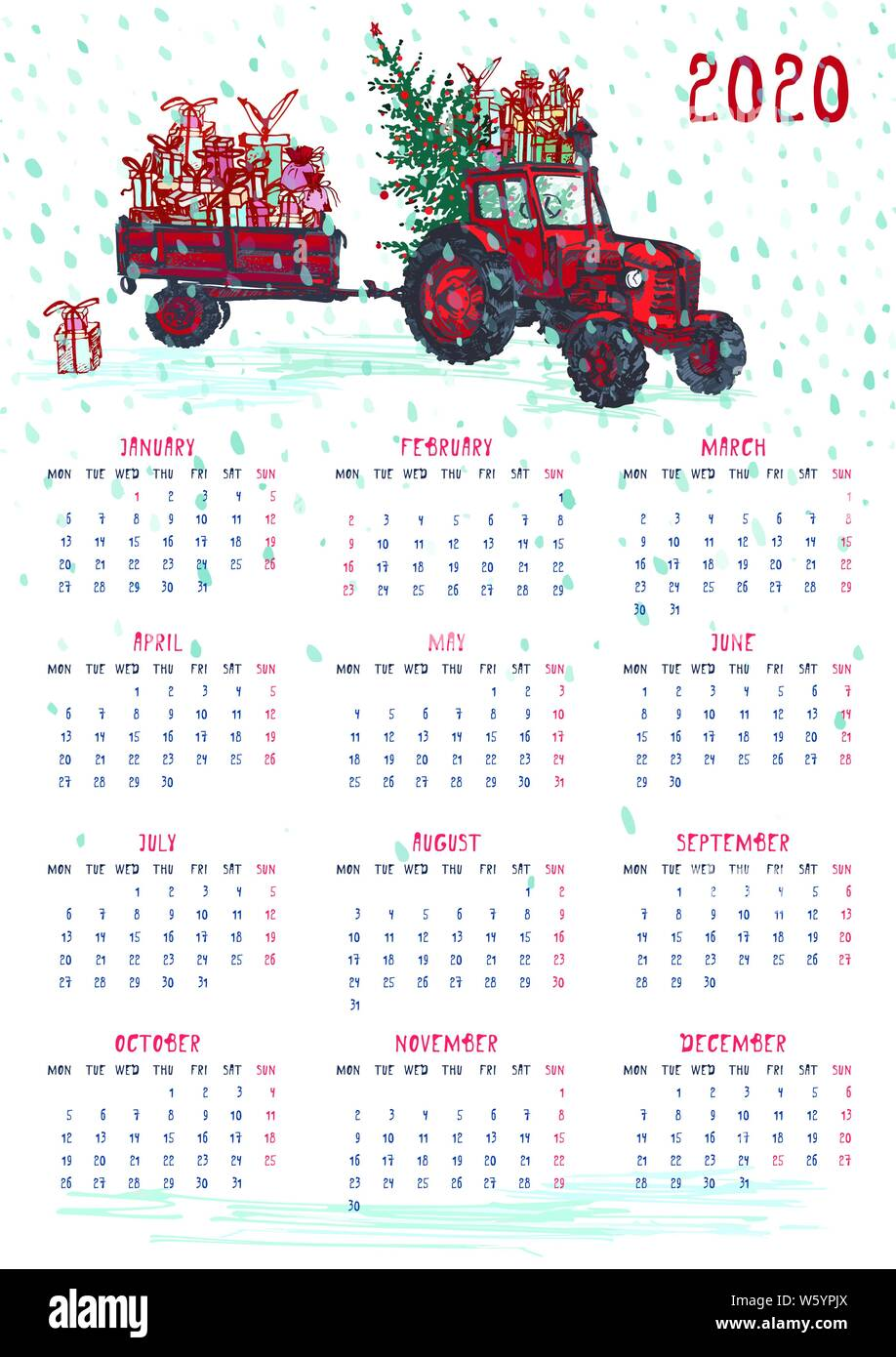 2020 Calendar planner whith red christmas car, new year tree and