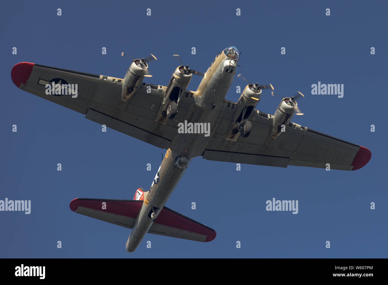 Low altitude fly over by the B-17 Nine-O-Nine in Concord, CA. Stock Photo