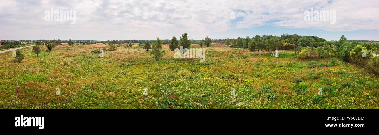 Wide panoramic landscape of nature. Countryside, Ukraine. Stock Photo