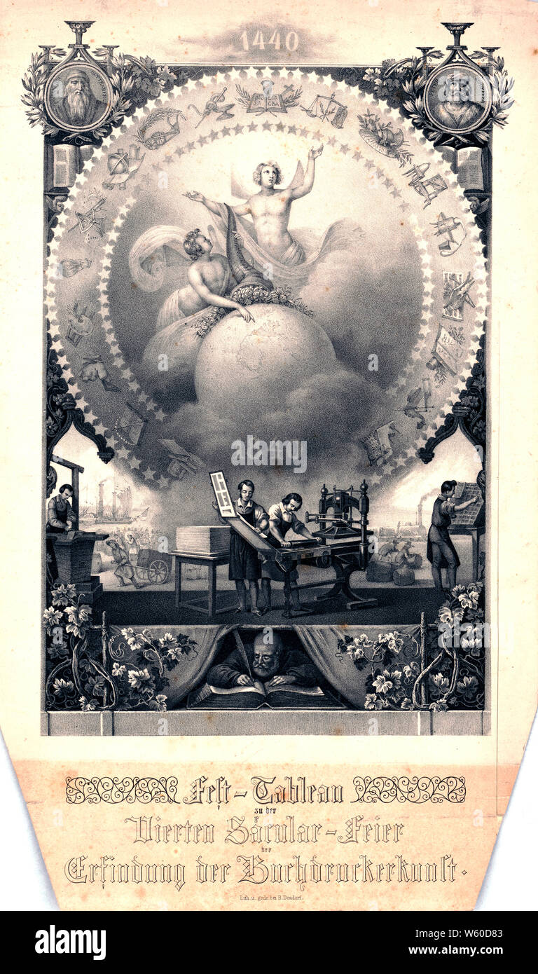 "Print shows an allegorical scene with men working in a printer's shop at presses and setting type beneath a large circle with angels holding a cornucopia over a globe, they are encircled by stars and images of inventions, at the base is ""1840""; at the top of the print, between portraits of ""Johannes Guttenberg"" and ""Peter Schoeffer"", is the date ""1440""; at the bottom of the print is a man writing in a large book. Background vignettes show a steamboat and a steam locomotive. Stock Photo"