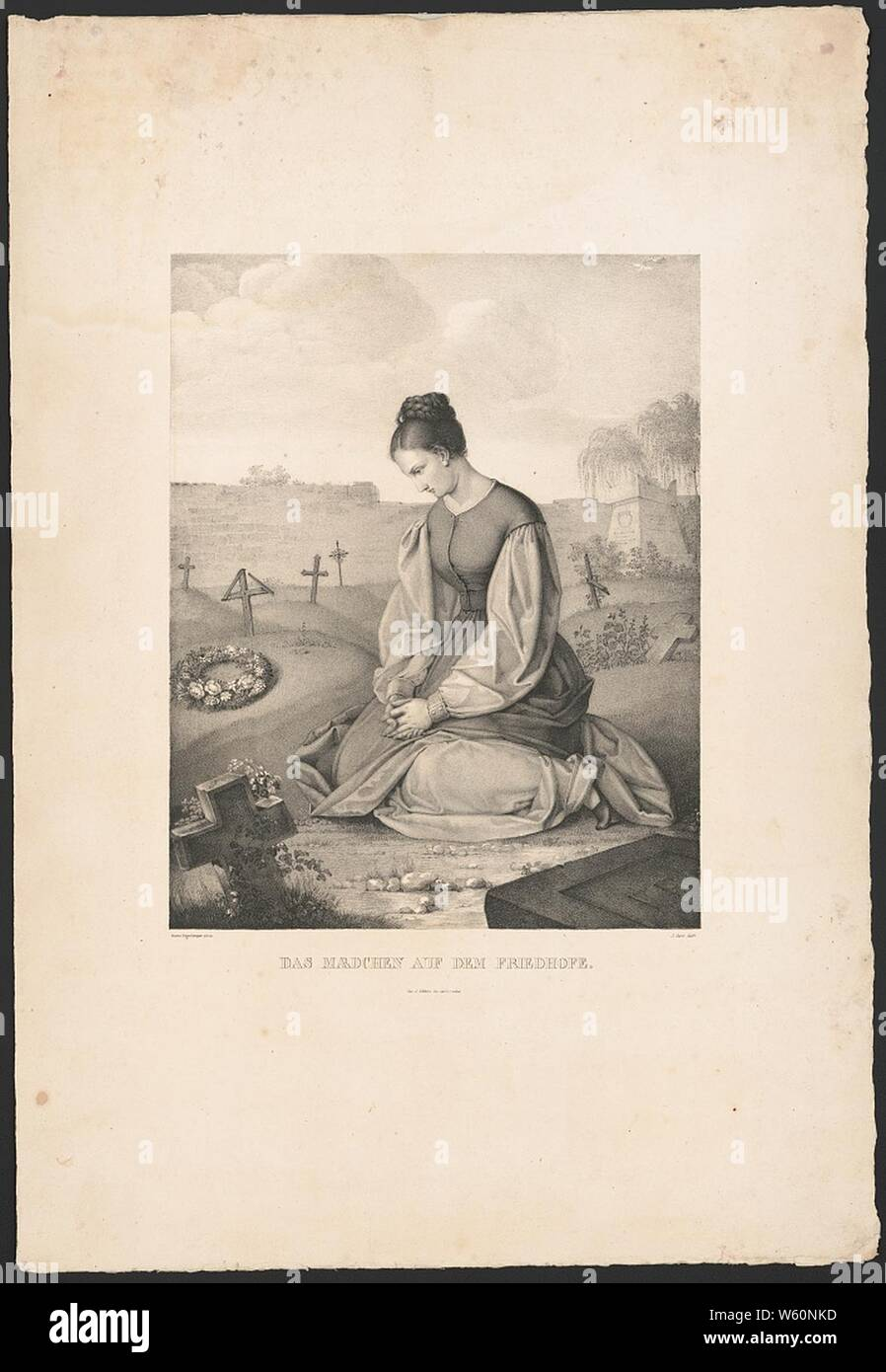 Das Mædchen auf dem Friedhofe (sic) - Gustav Dittenberger pinx. ; J. Oeri delt. Stock Photo