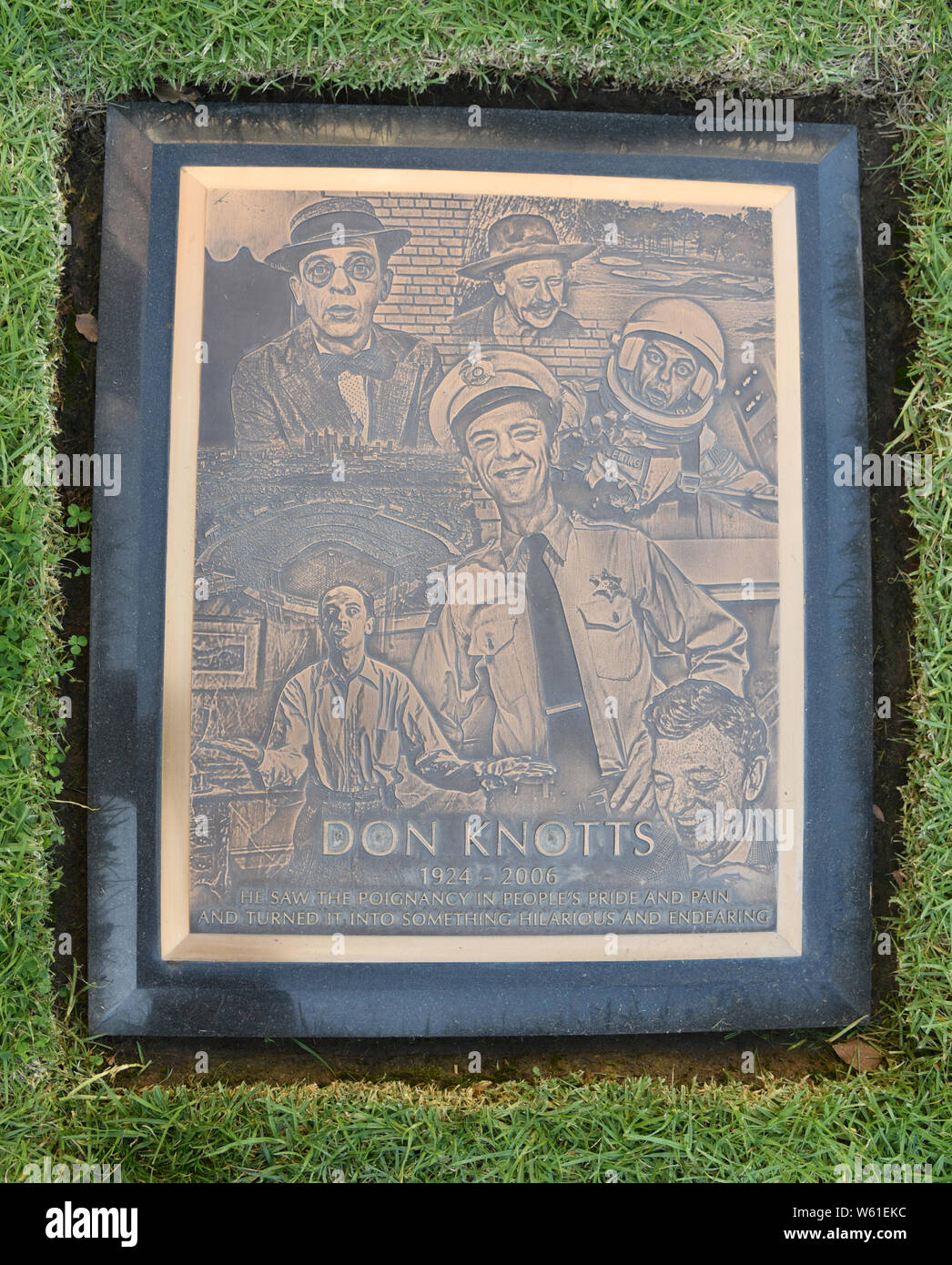 LOS ANGELES, CA/USA - MARCH 15, 2019: Actor Don Knott's tombstone at Pierce Brothers Westwood Village Memorial Park, where many celebrities are buried Stock Photo