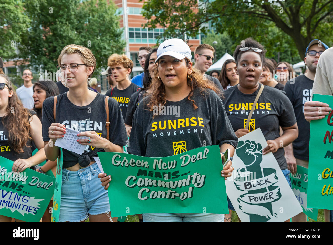 Detroit, Michigan USA - 30 July 2019 - Activists, including many of from the Sunrise Movement, rallied outside the first night of the Democratic Presi Stock Photo