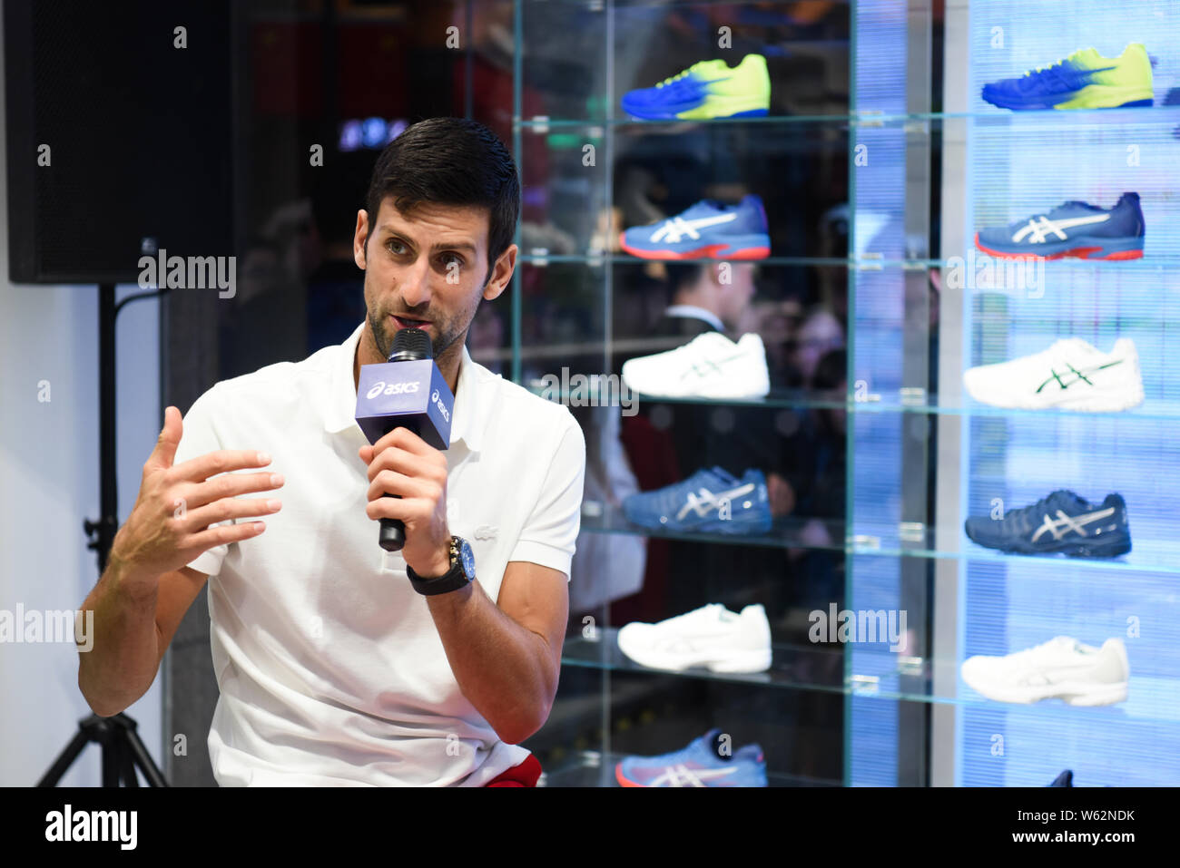 Serbian Tennis Star Novak Djokovic Attends A Promotional Event For Asics Ahead Of The Rolex Shanghai Masters 2018 Tennis Tournament In Shanghai China Stock Photo Alamy