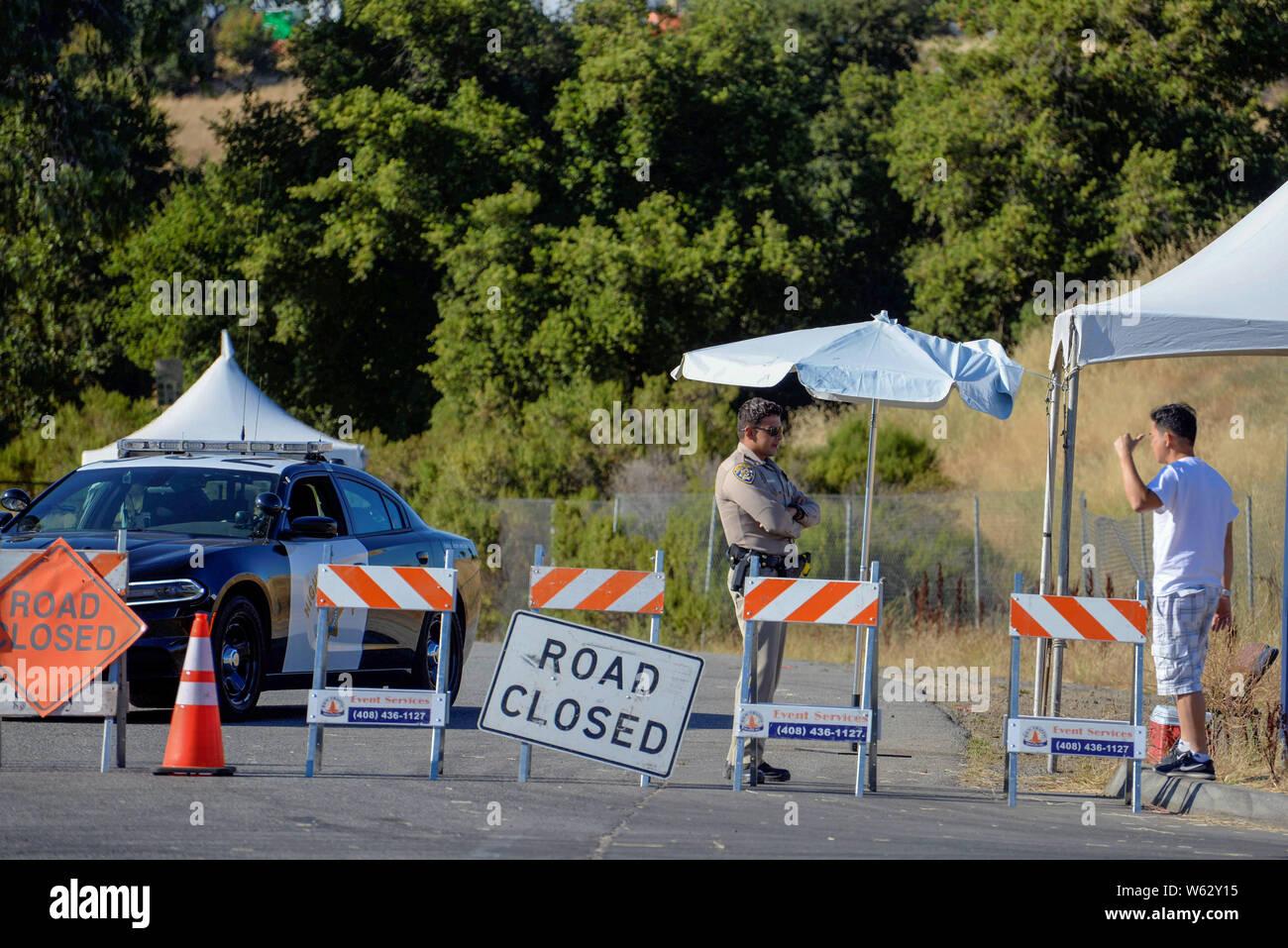 Christmas Hill Park California.Gilroy California Usa 30th July 2019 Road Blocks