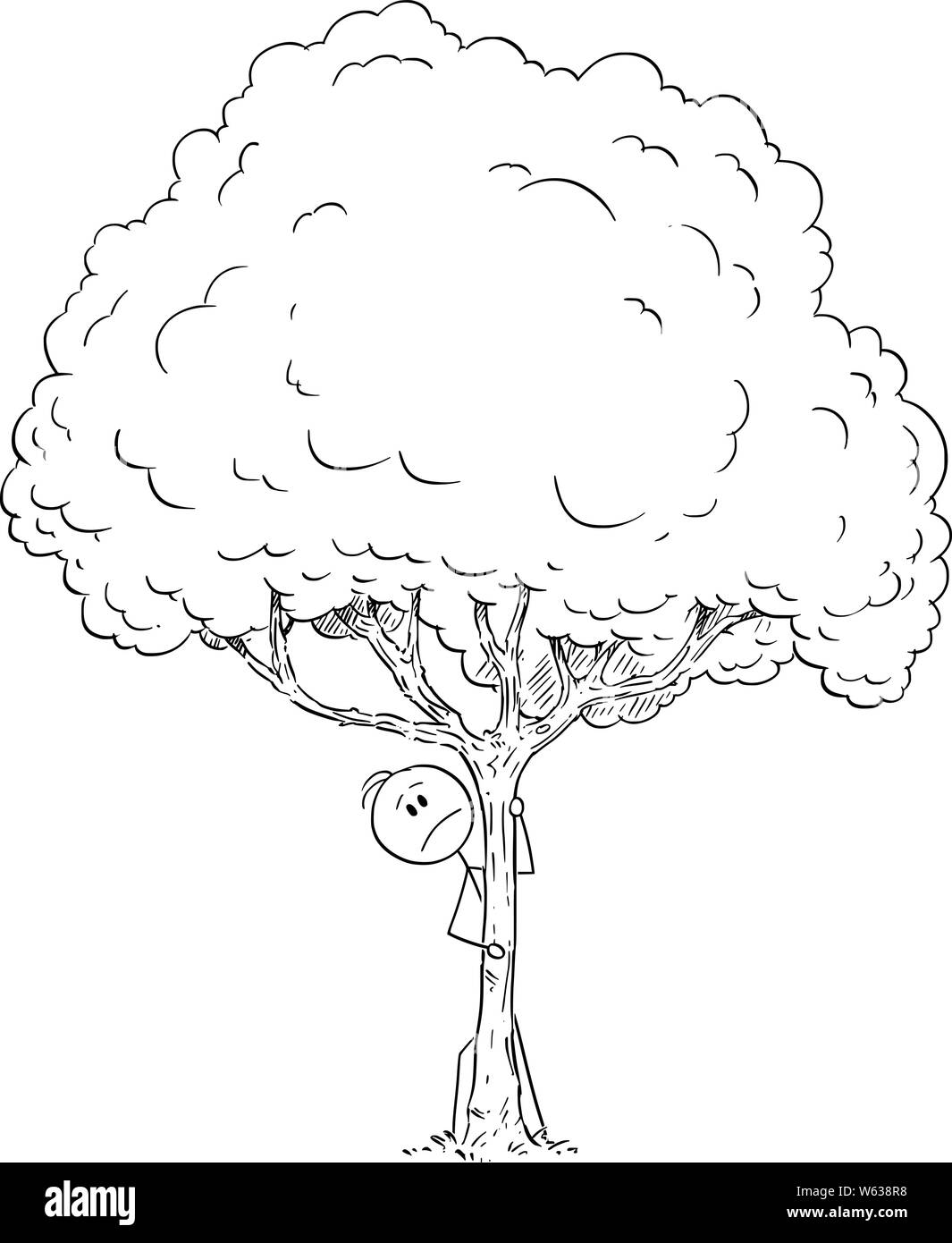 Vector cartoon stick figure drawing conceptual illustration of fearful or worried or afraid or curious man hiding behind tree. Stock Vector
