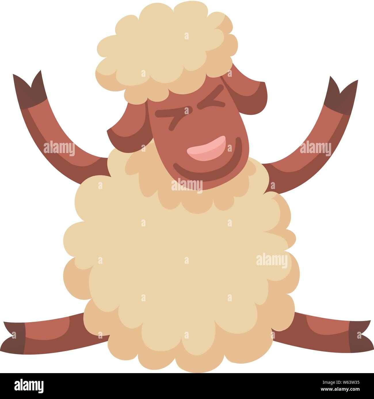 Happy sheep icon. Cartoon of happy sheep vector icon for web design isolated on white background Stock Vector