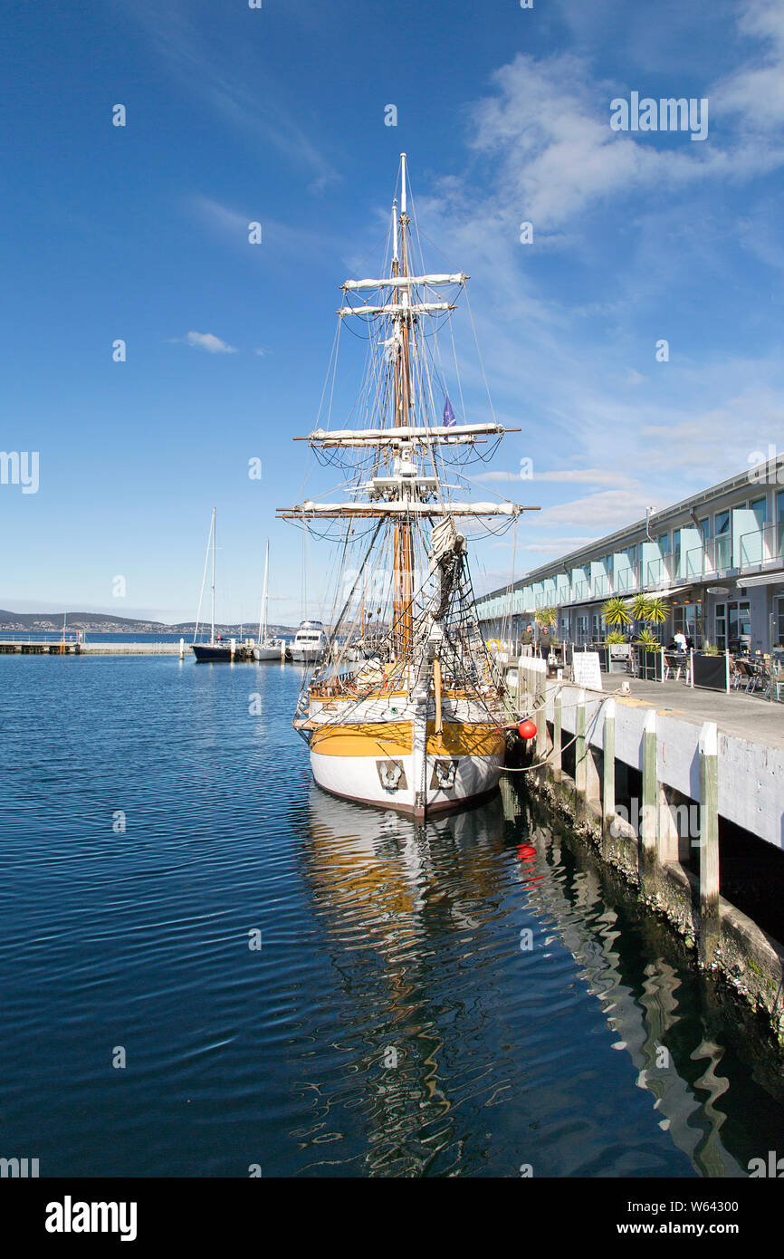 Hobart, Tasmania: April 01, 2019: Lady Nelson is a full size replica of a twin masted Brigatine. She is berthed at her home port in Hobart. Stock Photo