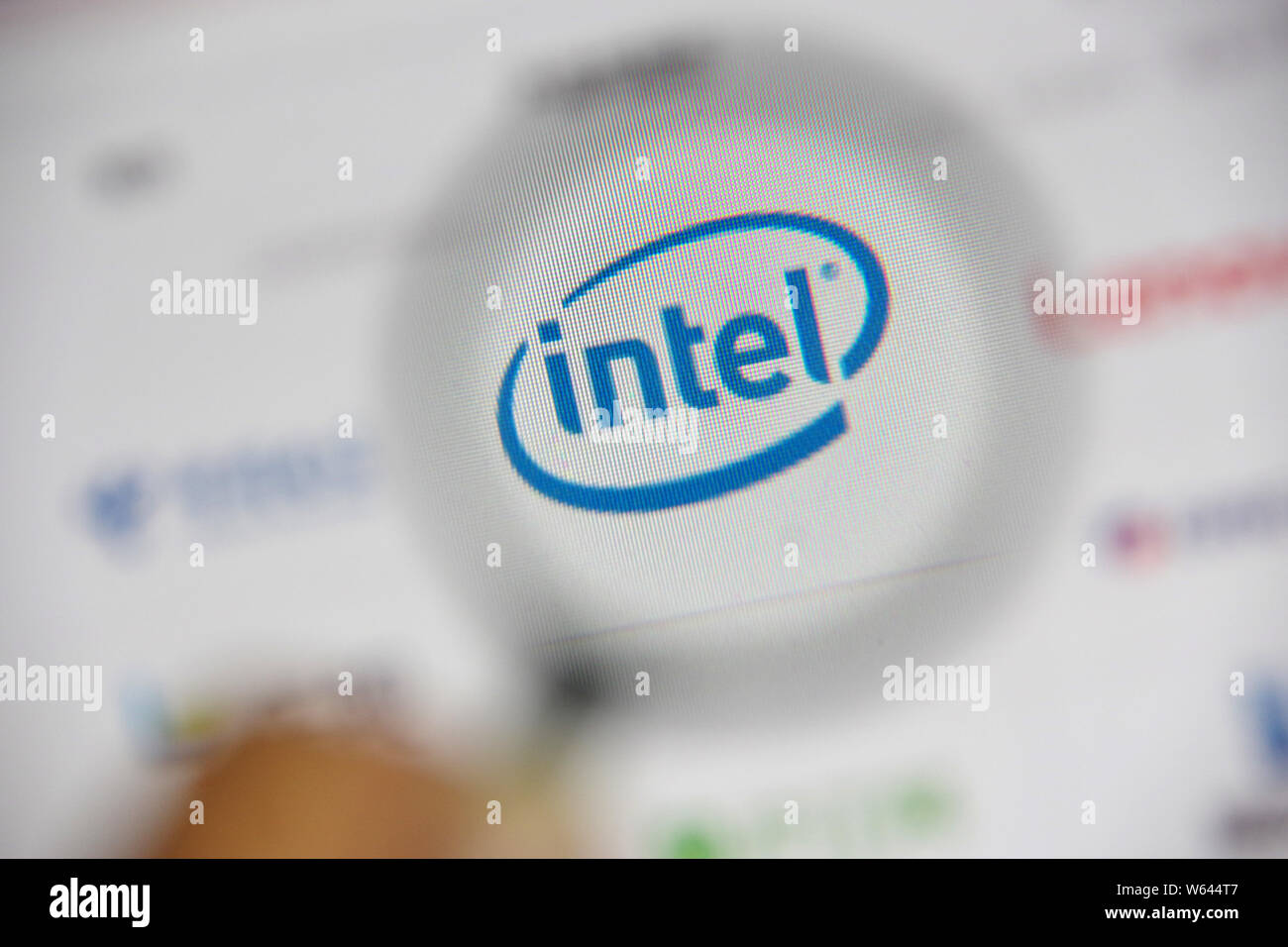 --FILE--A Chinese netizen browses the website of Intel on his computer in Ji'nan city, east China's Shandong province, 23 July 2018.   China's Baidu I Stock Photo