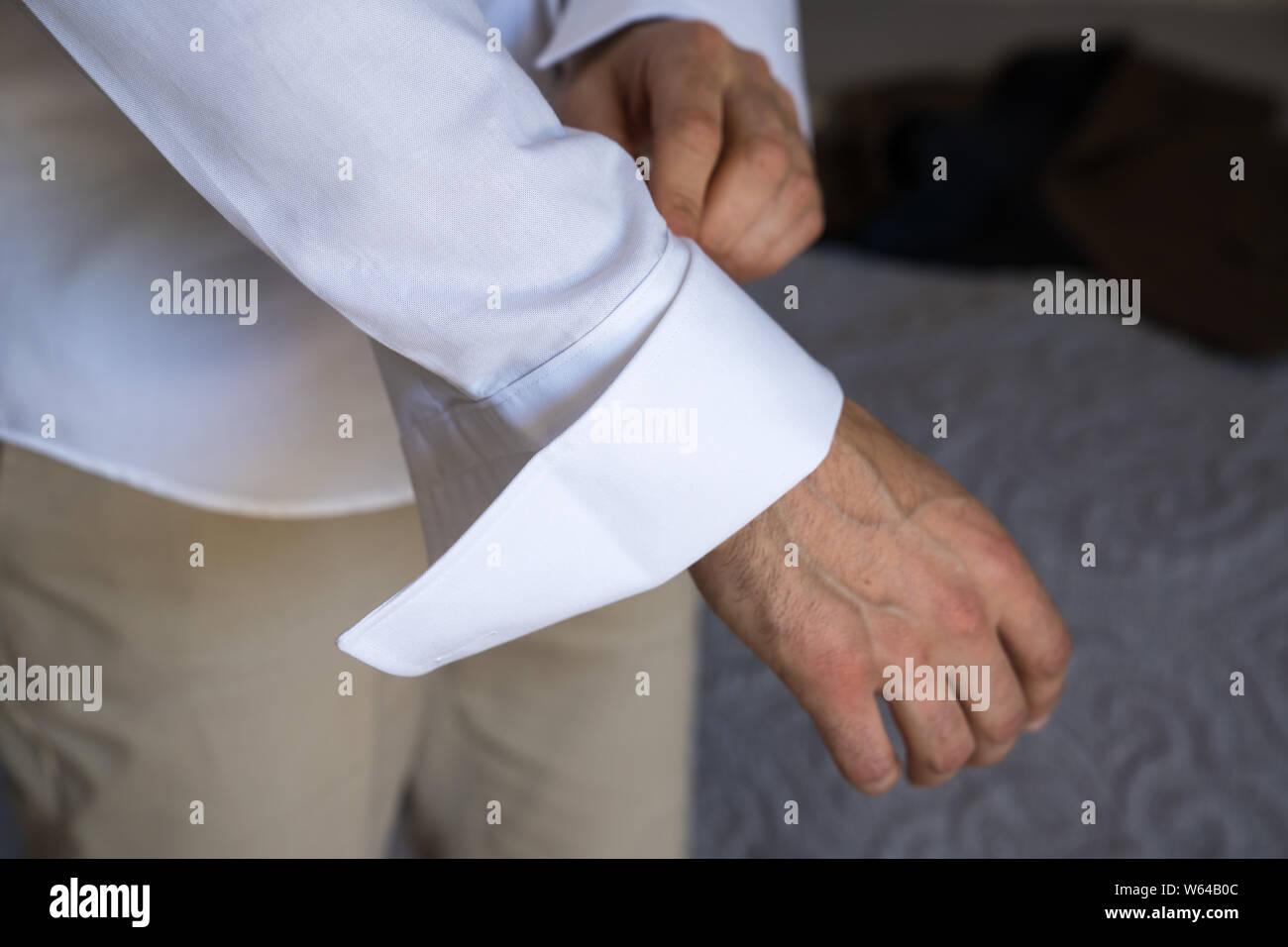 Pre Wedding Preparations. Groom getting ready for wedding ceremony. Greek, Cypriot wedding traditions Stock Photo